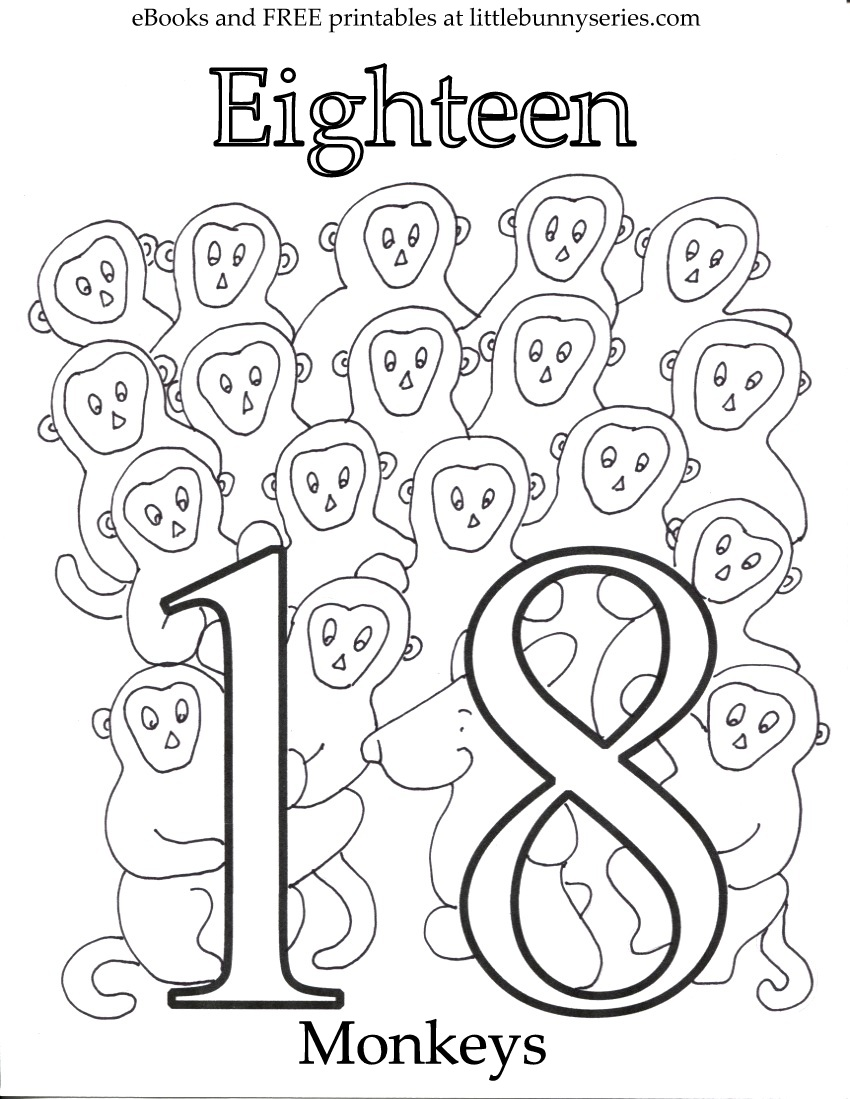 Number 18 Coloring Page PDF