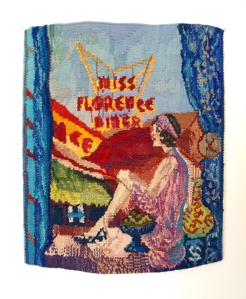 """Miss Florence Diner, 15"""" x 12"""", weft: wool, silk, rayon; warp: cotton"""