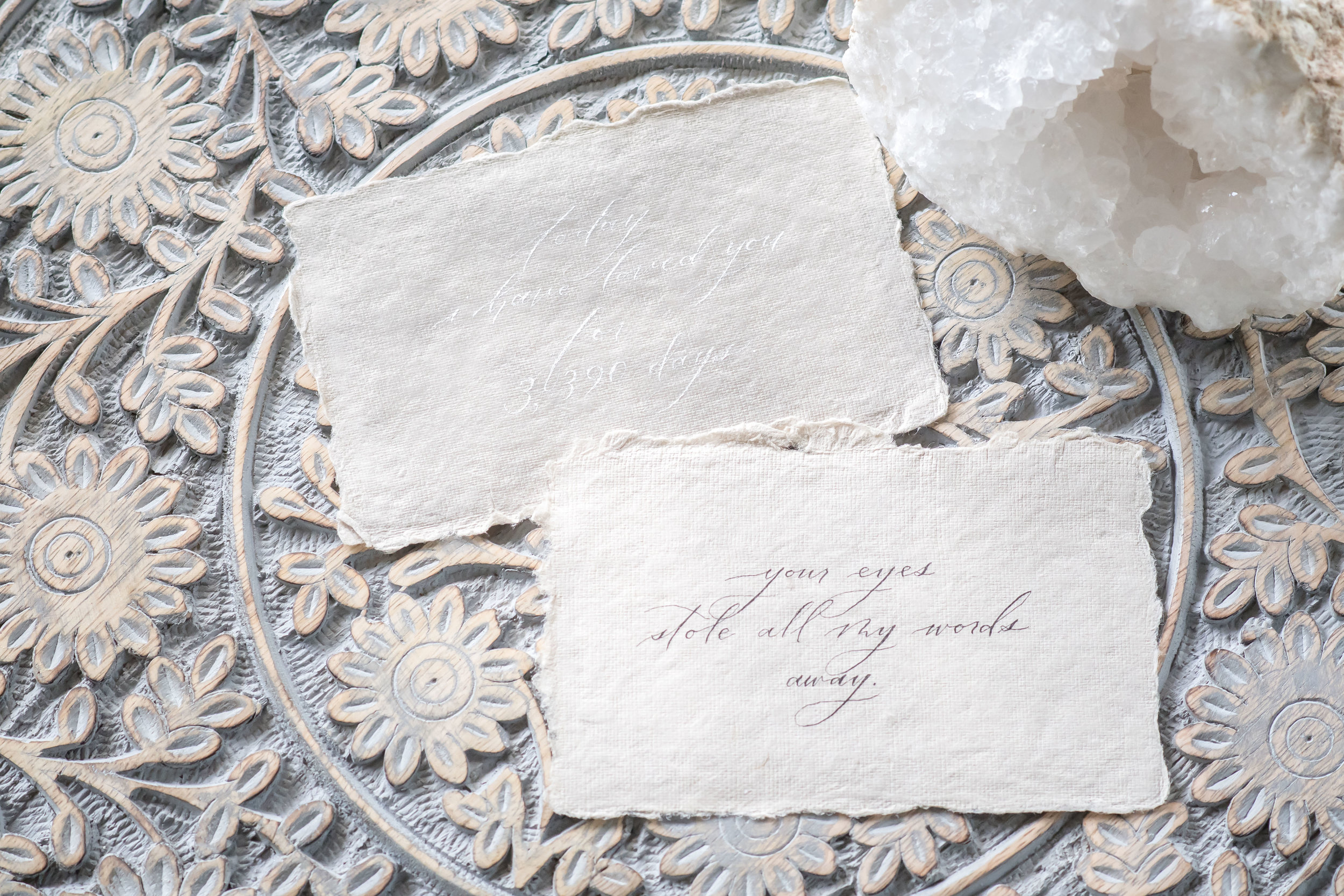 calligraphy handmade invitations on fine french paper