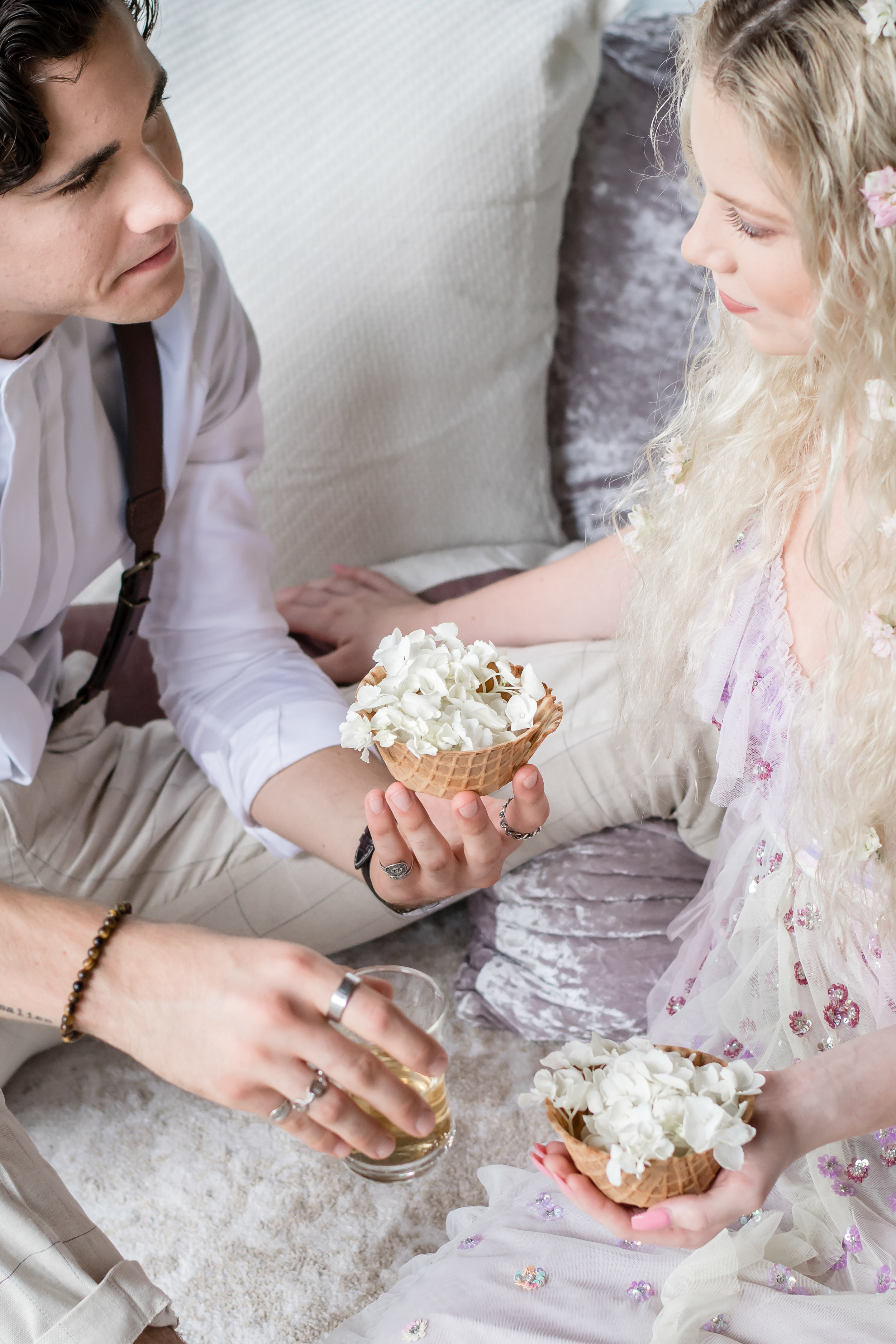 utopian bridal inspiration with floral waffle cones with hydrangeas