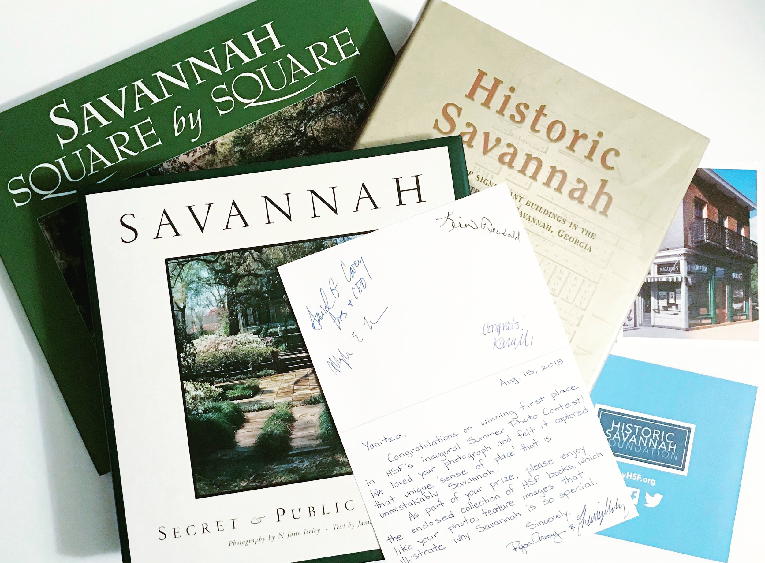 My prizes from Historic Savannah Foundation. They also sent me $250!! Sweet