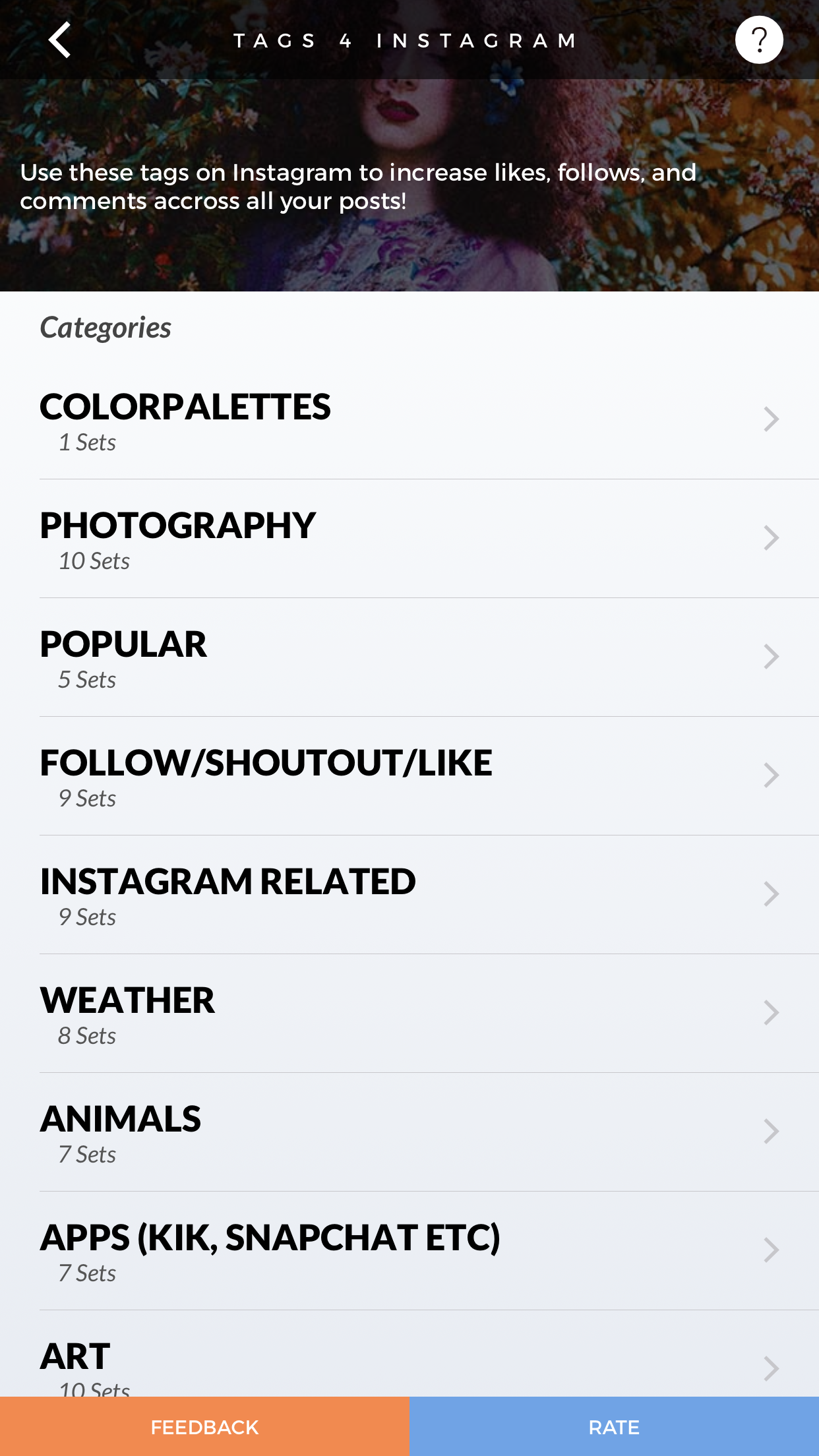 The Carbon app divides the hashtag sets by categories.
