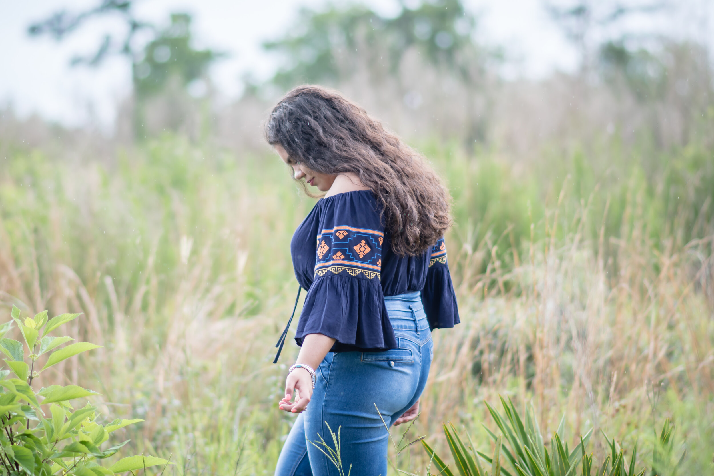 off the shoulder boho chic shirt with blue jeans