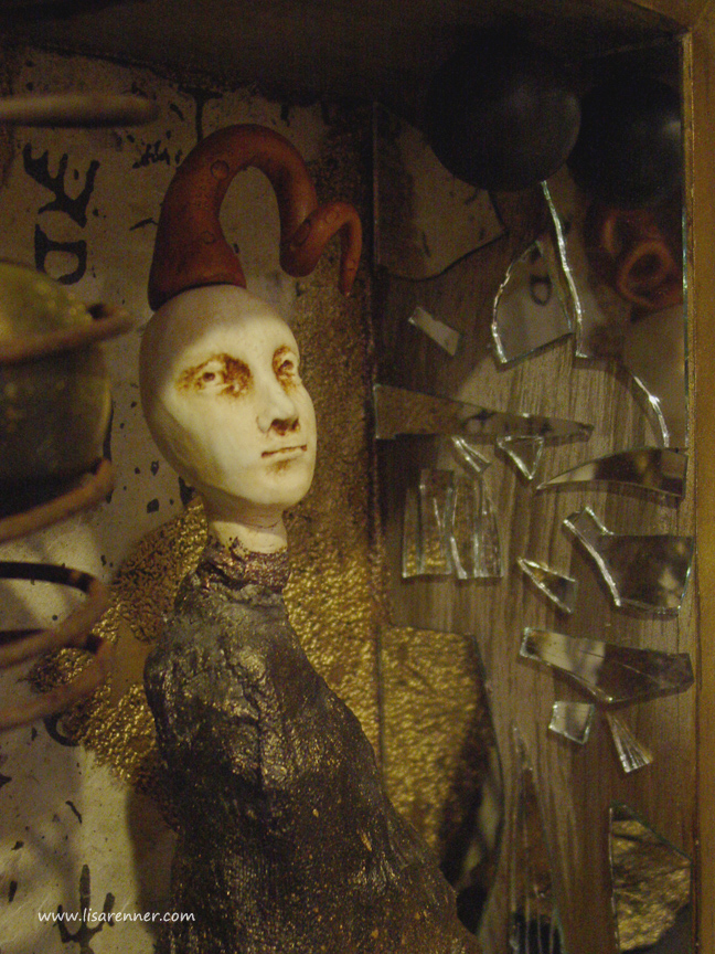 """Odd Balls"" Assemblage, An Ode to Joseph Cornell published in Art Doll Quarterly Winter 2008 issue"