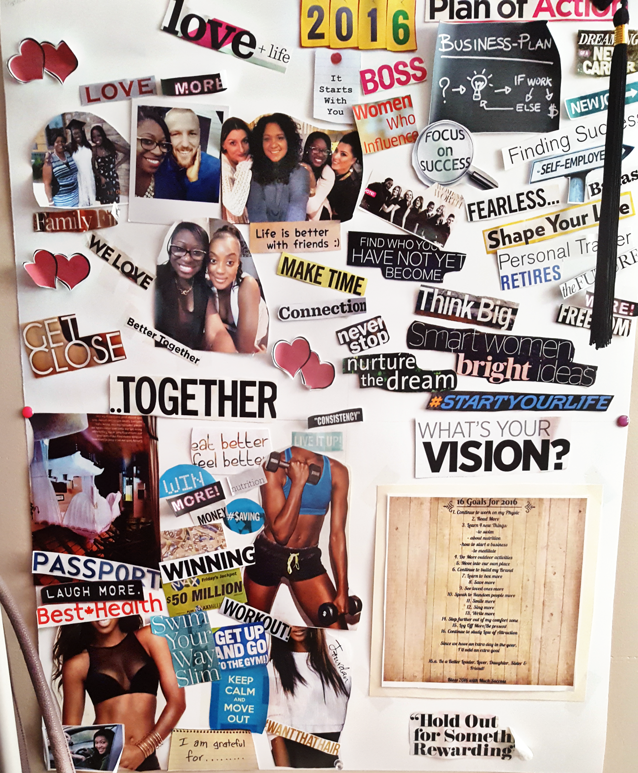 My Vision Board from 2016 on my wall