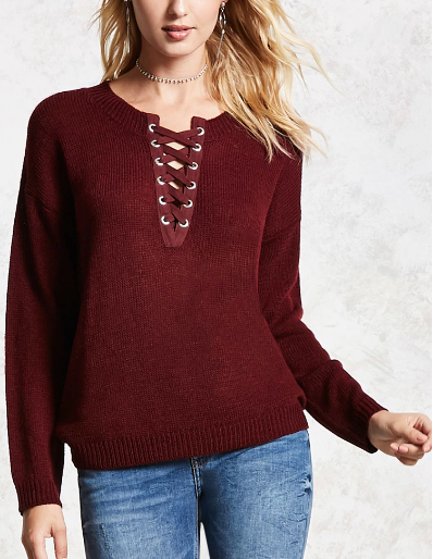 - Lace Up Purl Sweater $24.90