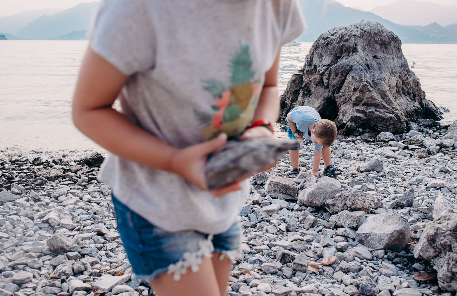Rocks - The moment :My children on holiday just started gathering rocks and moving them around the beach. This is so