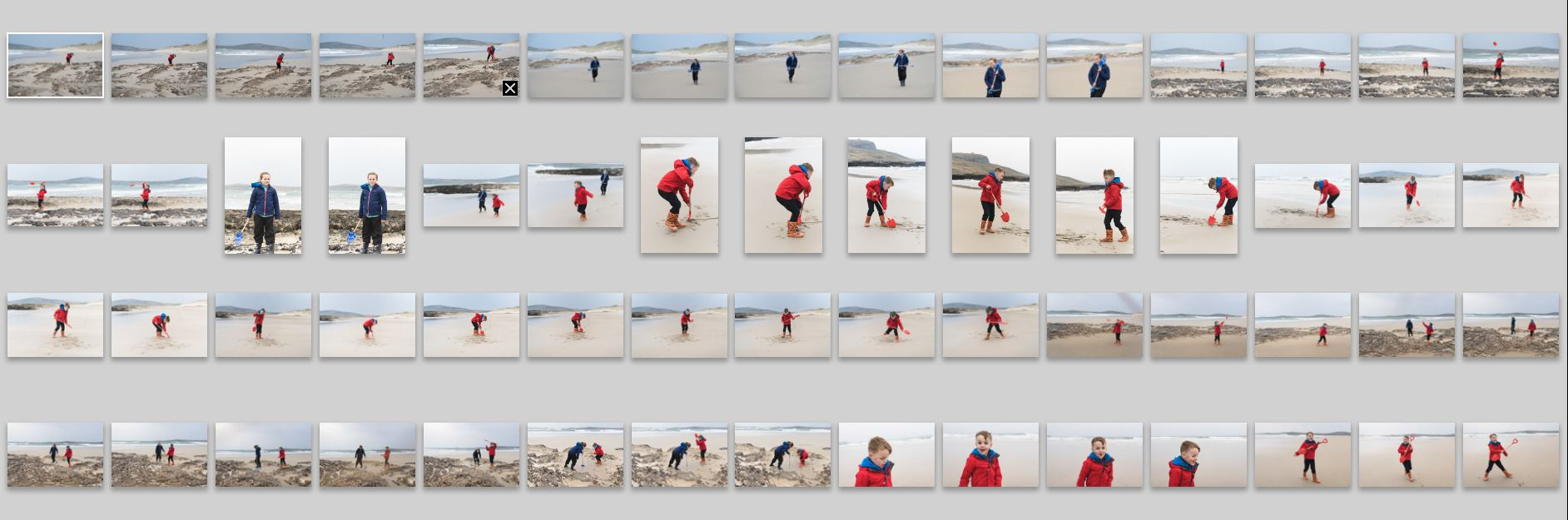 """A scottish beach on a cold day. Notice how I'll take a few shots of each thing before deciding whether to move on, or take a few more. I would keep less than 10% of these photos but if I hadn't taken all of them I wouldn't get so many """"keepers"""".."""