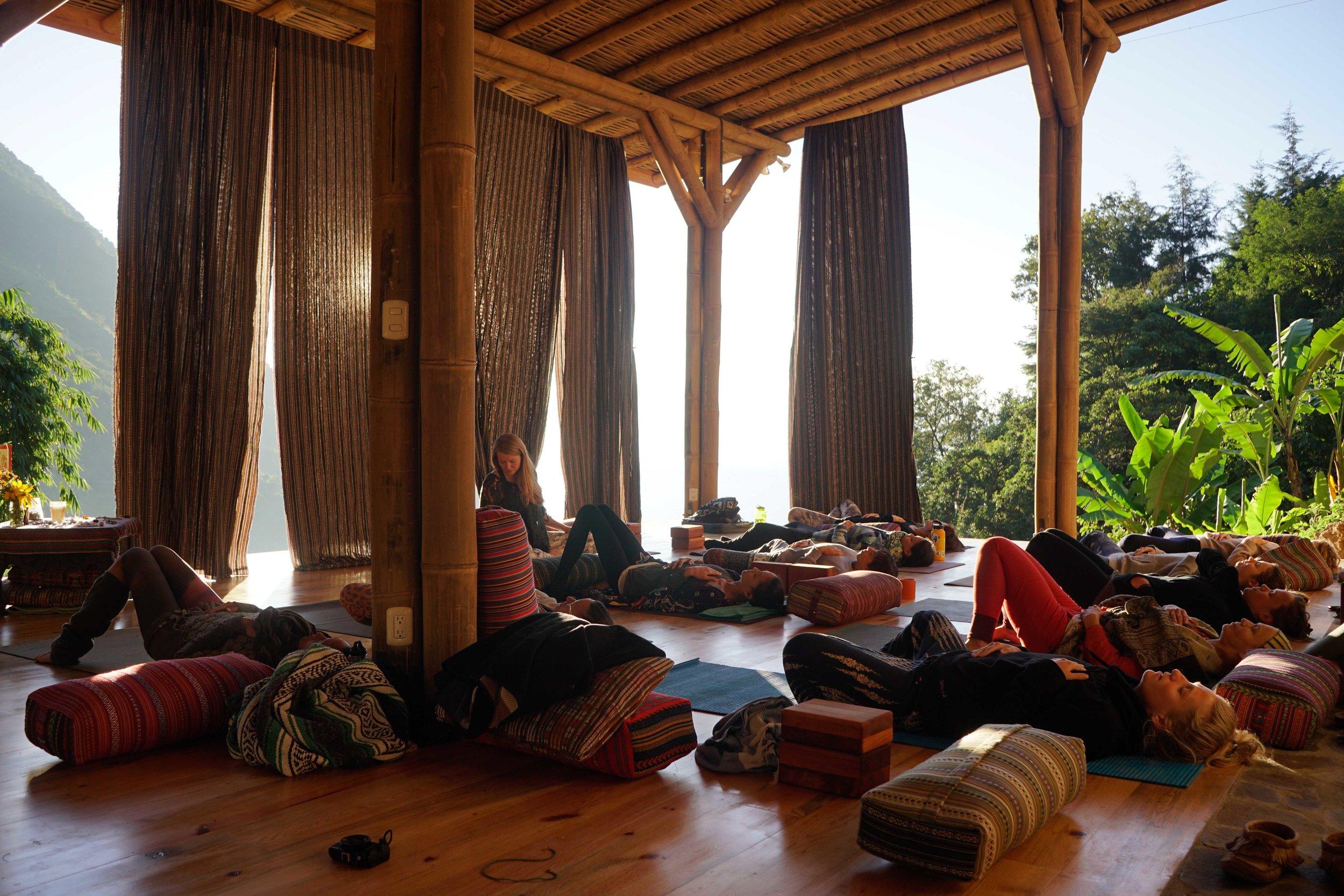 Yoga deck, yoga props, Bambu Guest House, Retreat Center, Small Group, Permaculture, Yoga, Organic, Regenerative Design, Regenerative Living, Tzununa, Lake Atitlan, Guatemala, Centra America, Natural Building