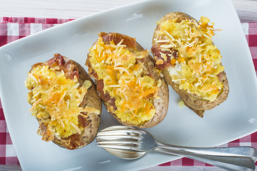 Twice Baked Potatoes - So much easier to mash together the ingredients with a KitchenAid Mixer than to do it by hand.