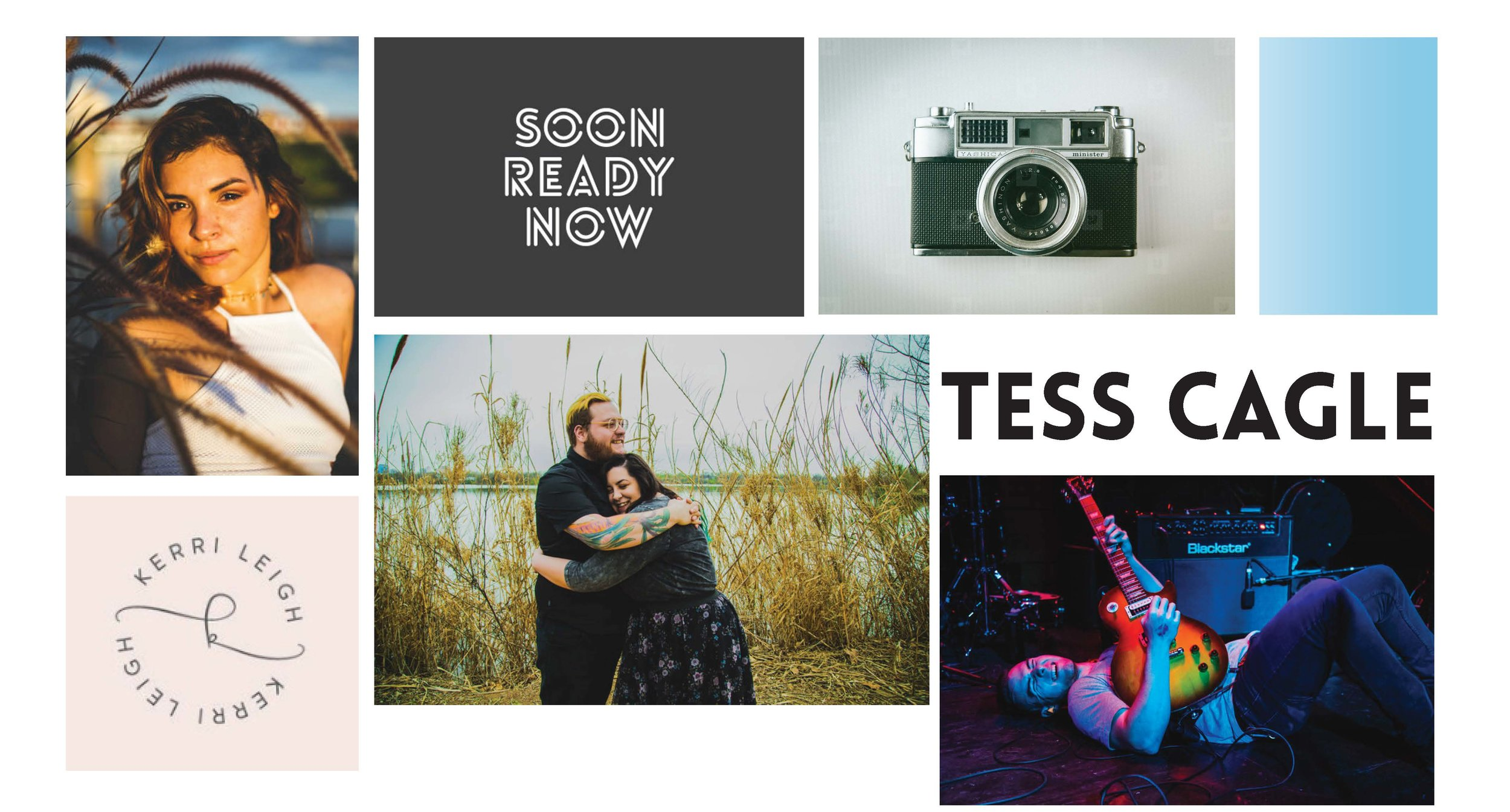 B R A N D - We started with a specific sans serif font that Tess loved. From there we worked together to create a bold and elegant monogram logo versatile for use on both her edgy and energetic concert photos and softer breathtaking wedding portraiture.