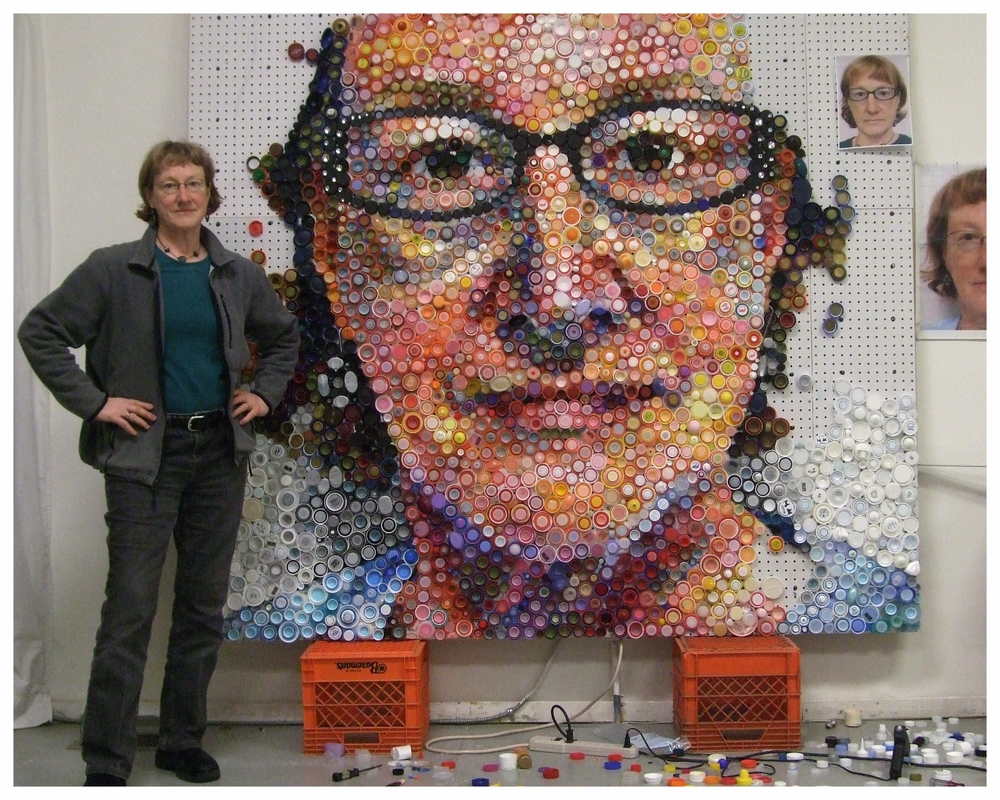 bottle caps mosaics by Mary Ellen Croteau