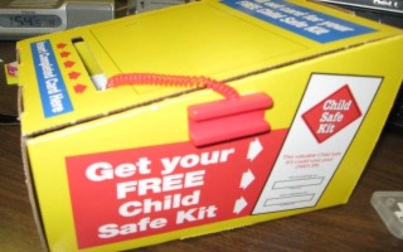 When these 'free' child safe kits began appearing in unattended laundromats, police warned parents not to give out their information to strangers. Police offer the kits free without trying to sell parents insurance.