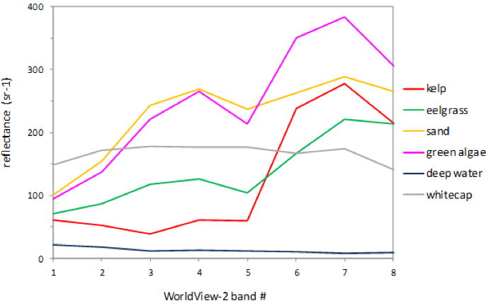 Figure 1.  Spectral fingerprint of each benthic class in for a WV-2 image (Data from Mayne Island)