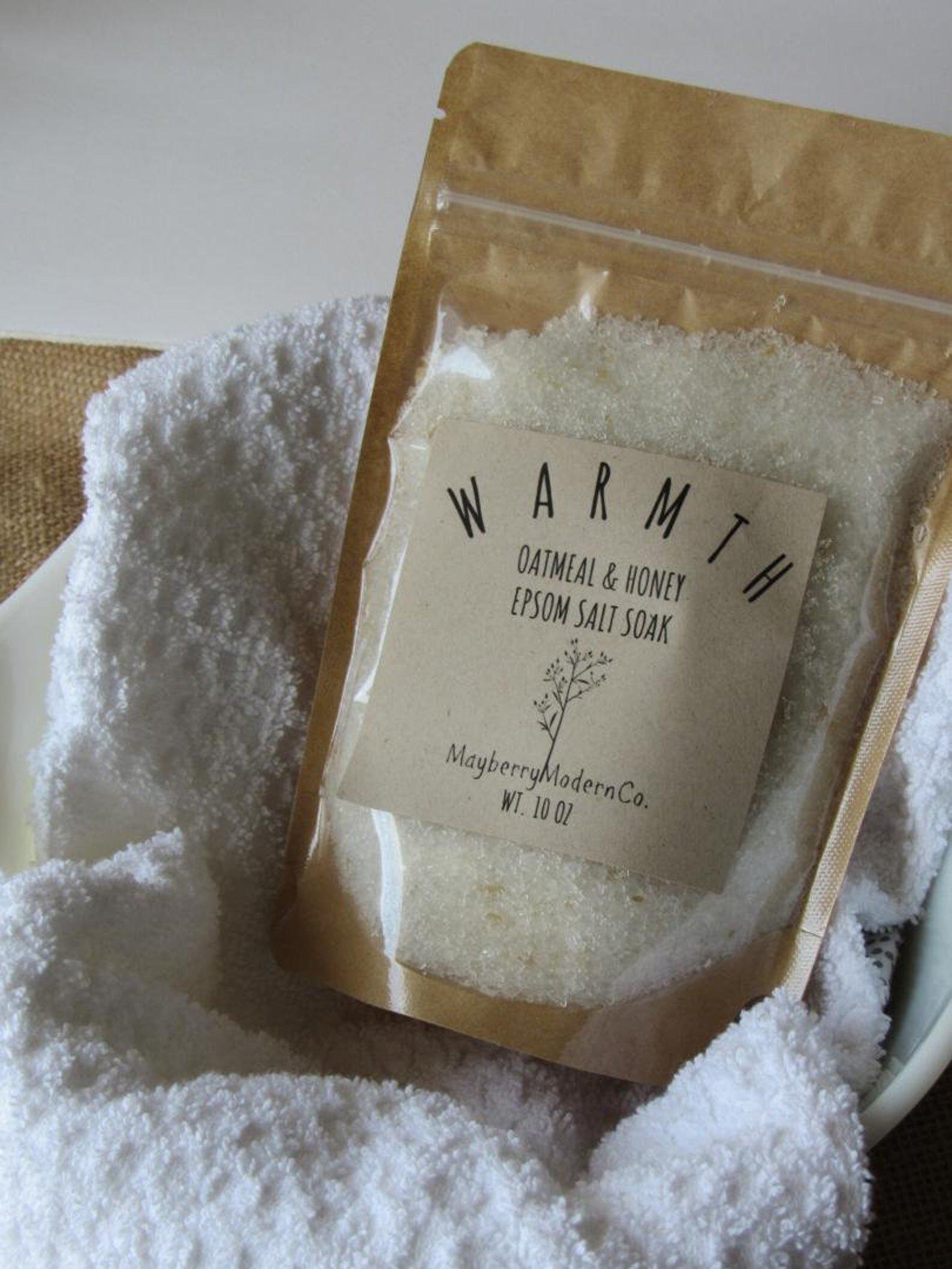 This week's product in the My Be Better Box. Oatmeal & Honey Epsom Salt Soak from Mayberry Modern Co.