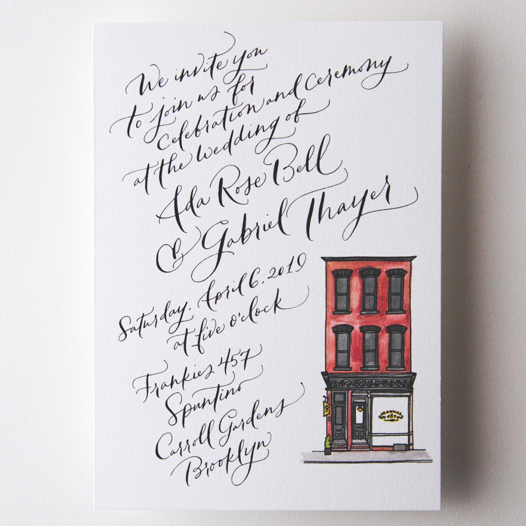 It starts with the invitation - We love working with our clients on an invitation design that fits them uniquely. Browse our collection of illustrated venues and other customizable designs, written and calligraphed by hand to order.