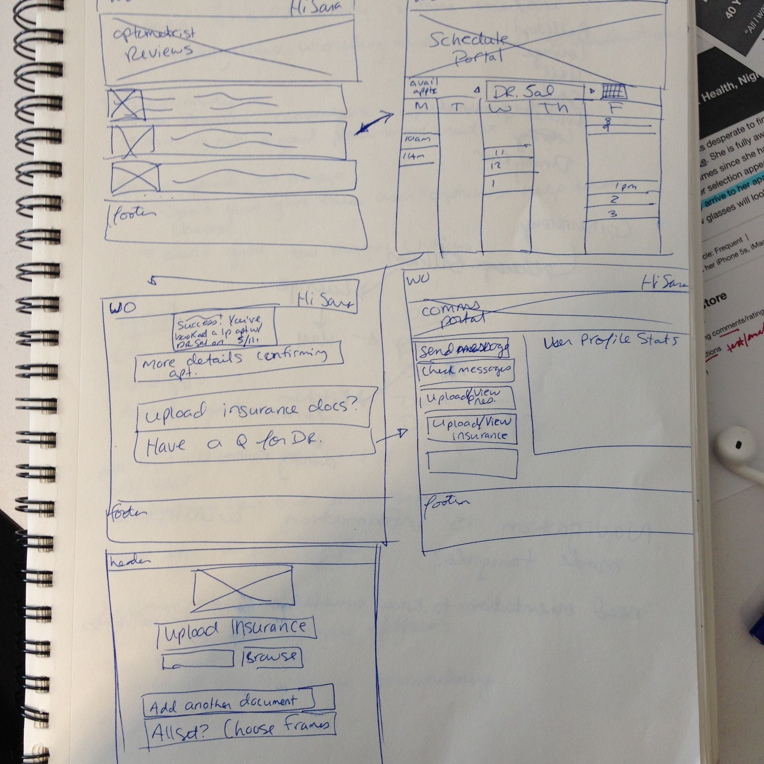 Sketch of first iteration wireframes