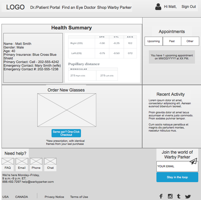 Prototype snapshot of Health Summary page inside patient portal