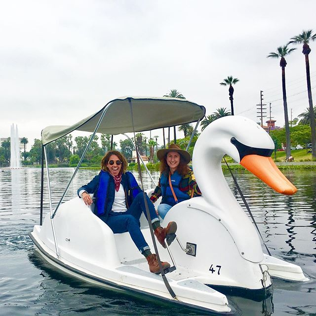 #junegloom aint keeping us down... doing a little #midweek #teambuilding at #echoparklake to #explore and #support #losangeles #publicparks. #swanboat what?