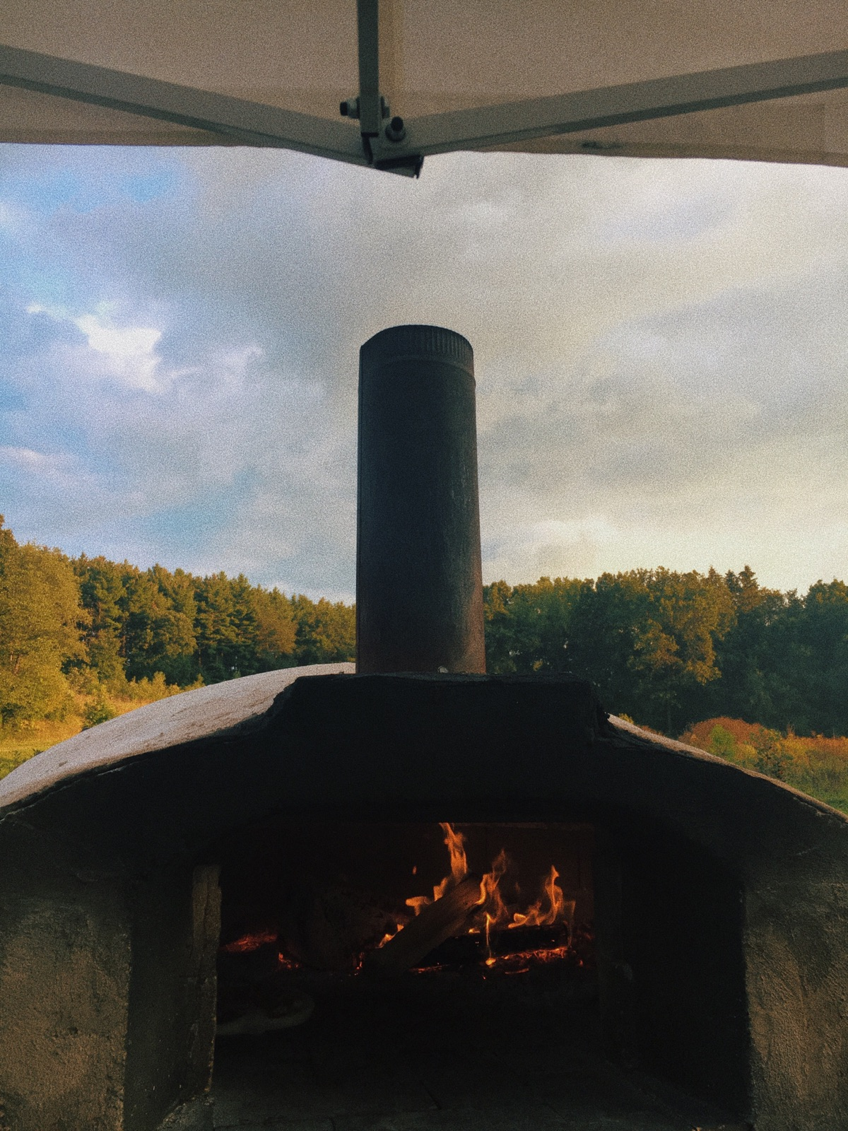 WOOD FIRED PIZZA OVEN BUILT ON OLD MILITARY TRAILER