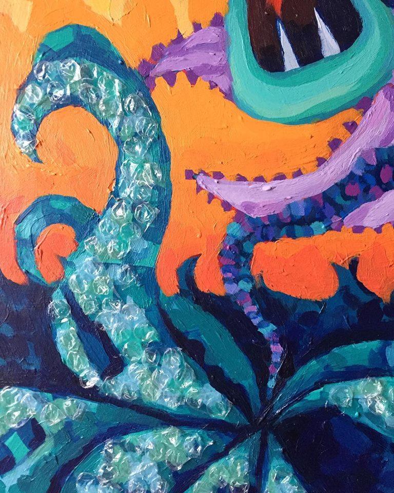 Unfinished artwork, Bubble wrap detail