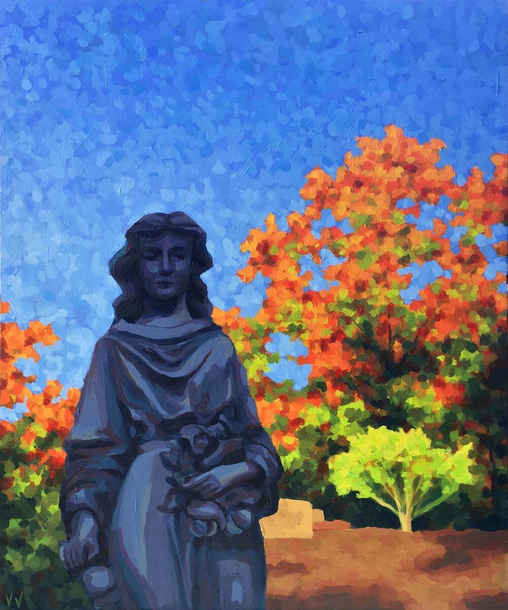 """Lowell Cemetery During Fall"" - Acrylic on Wood Panel14"" x 18""$450.00"
