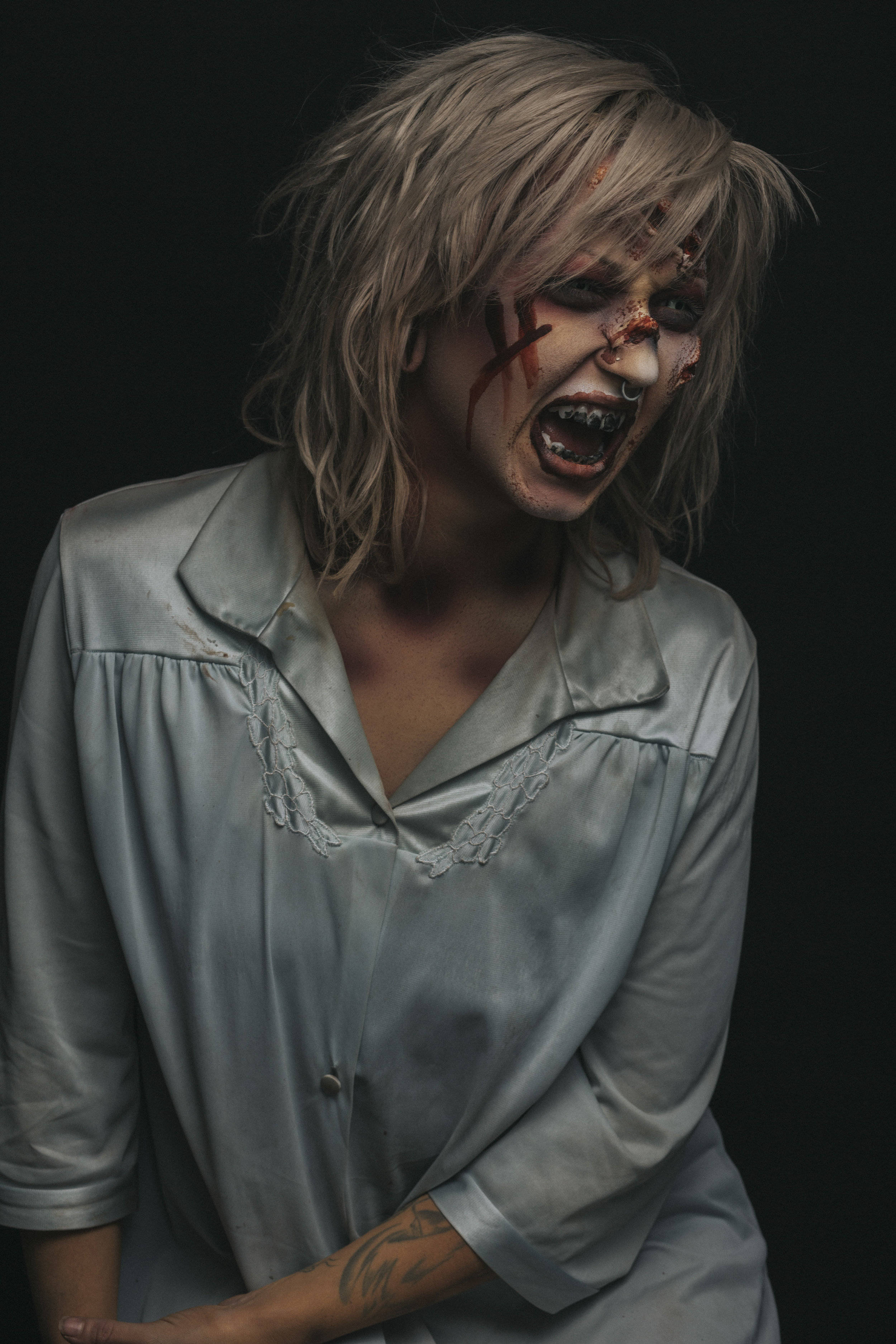The Exorcist is one of my favorite scary movies. It is so well acted and the cinematography is amazing. Not to mention Dick Smith did an amazing job on the make up. If I can even come close to a fraction of what he did I'll be happy. With all of that said I am pretty happy with this makeup and Sydni Whitman wears it well.
