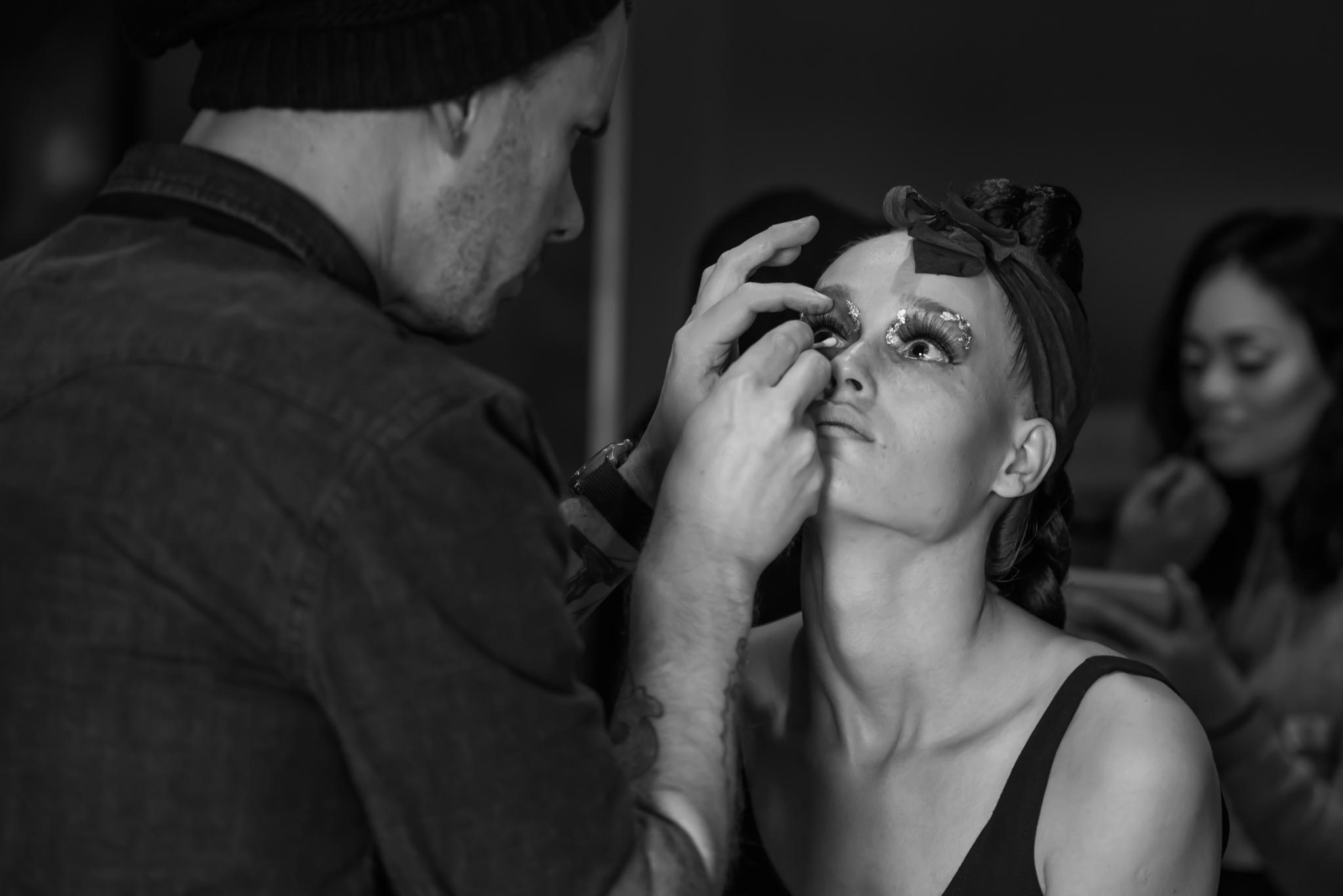 For designer Raina Trimble I got to apply gold flake to my good friend and model Katya Estes.