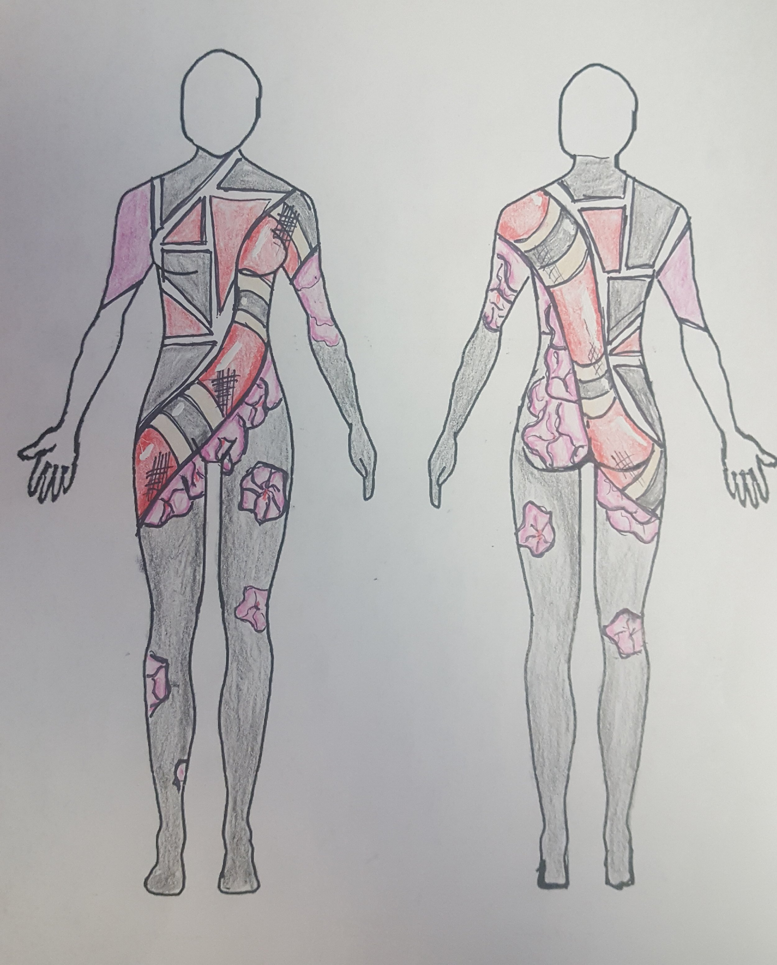 Rough sketch of body paints