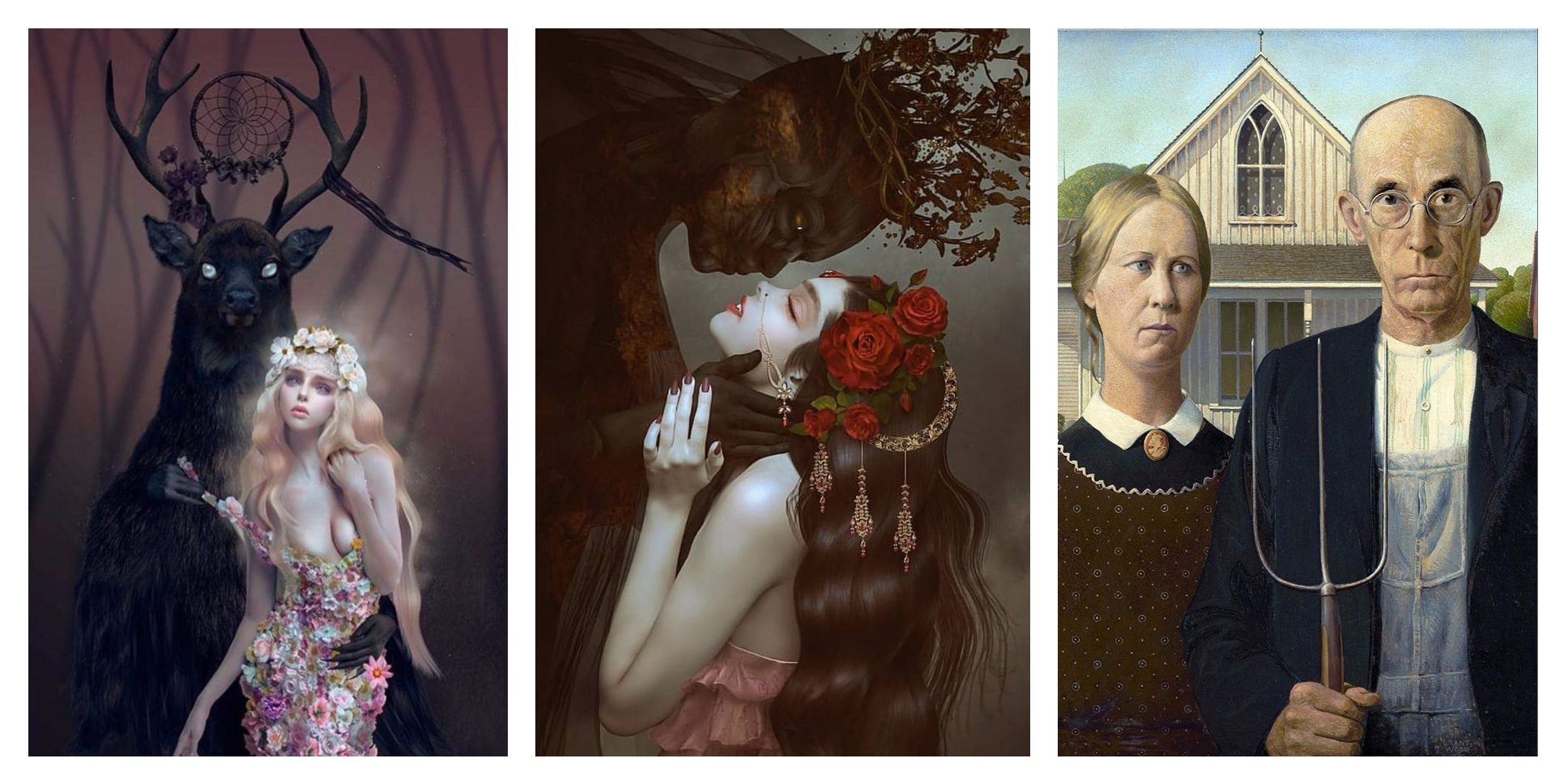 "Inspiration image by Natalie Shau ""Wendigo"",  ""Secret Date"" and Grant Wood's ""American Gothic"""
