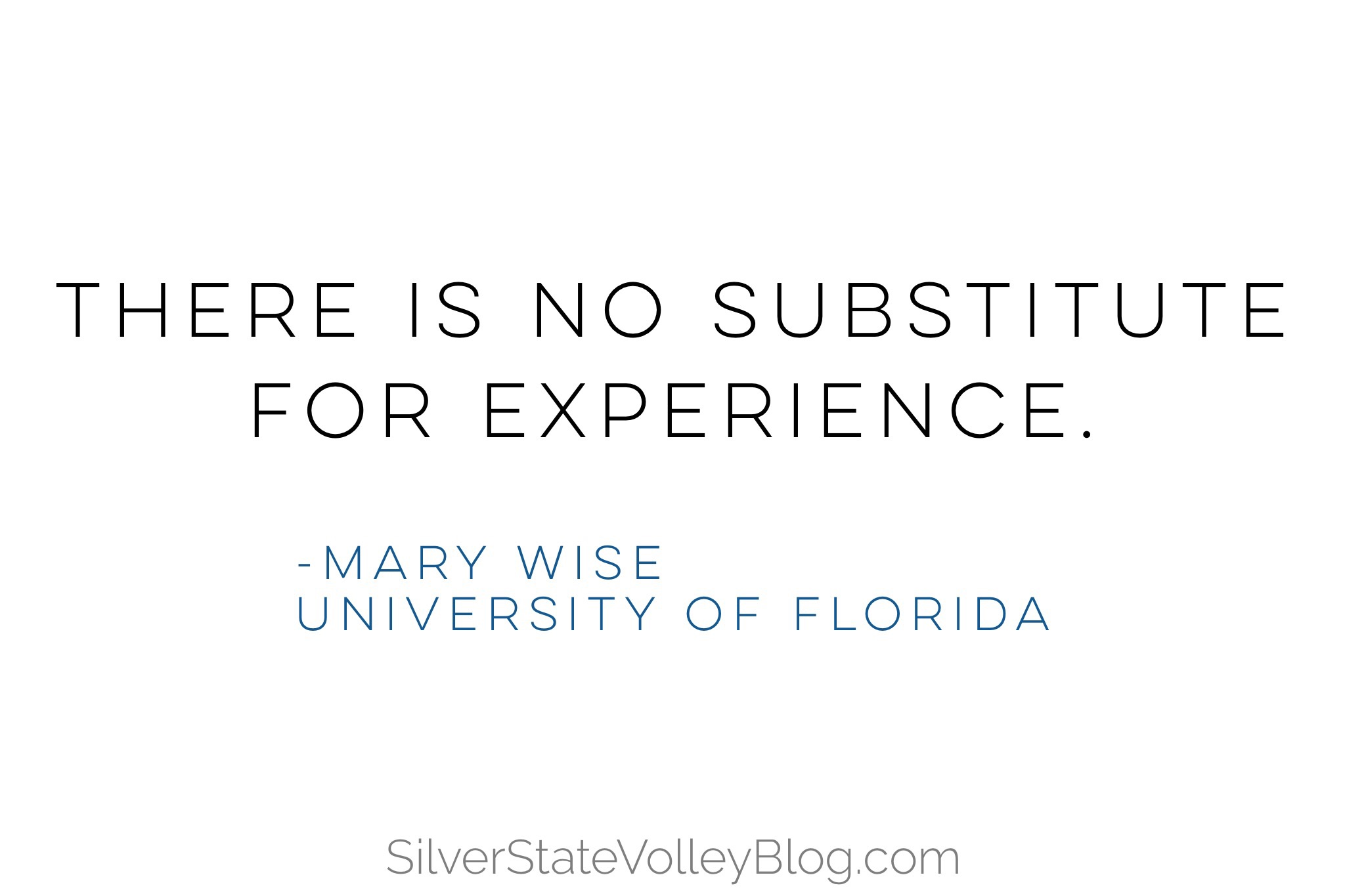 """""""There is no substitute for experience.""""  -Mary Wise  University of Florida"""