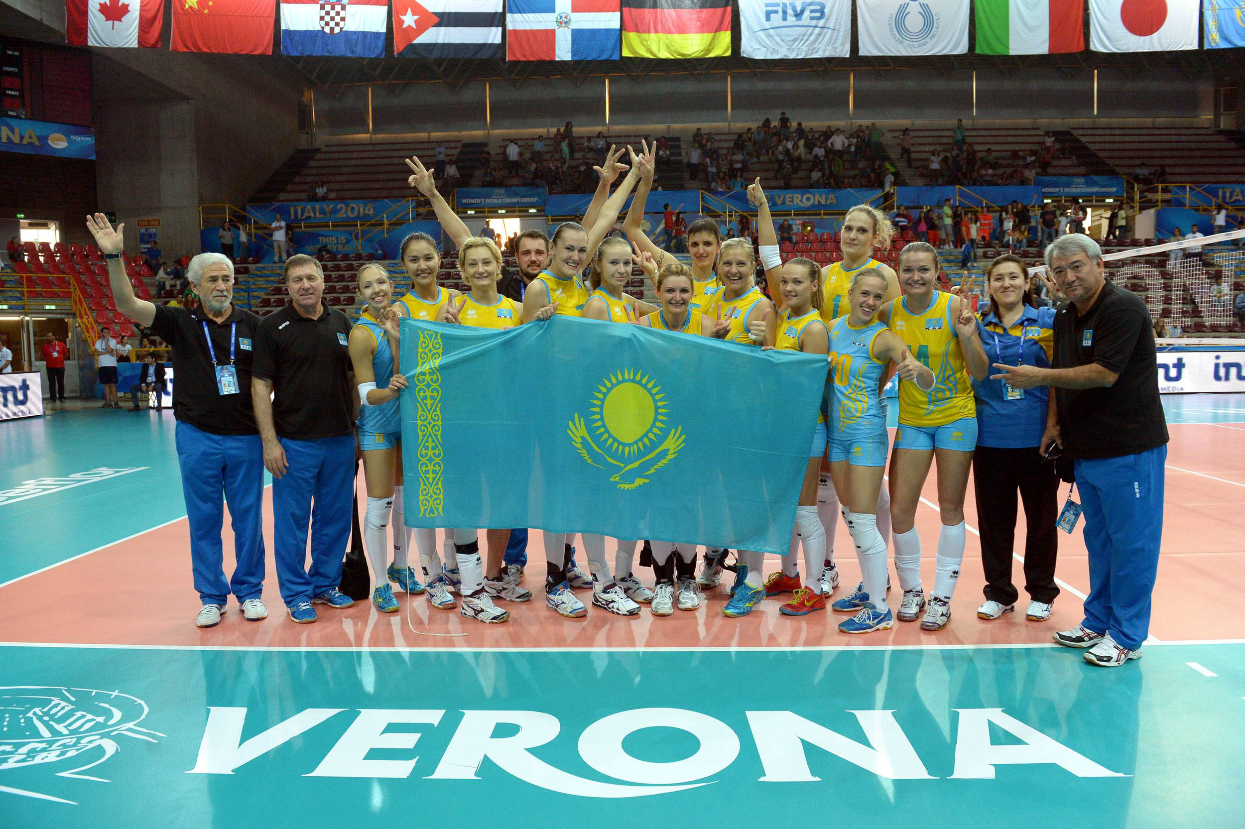 Kazakhstan National Team making it to the 2nd Round in World Championships (Sasha second from the Left)