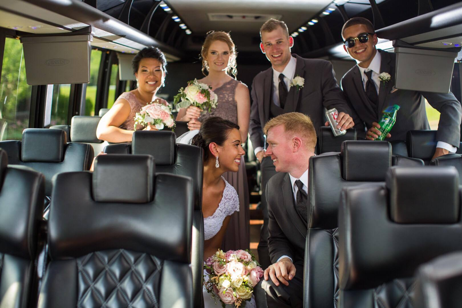 """Wedding Transportation - From the bachelor/bachelorette party, grooms dinner, hotel shuttle, wedding ceremony, reception, photo ops, sedan service to the hotel at the end of the night, or the """"Honeymoon Express"""" to the airport. Our staff ensures that we accommodate all your requirements."""