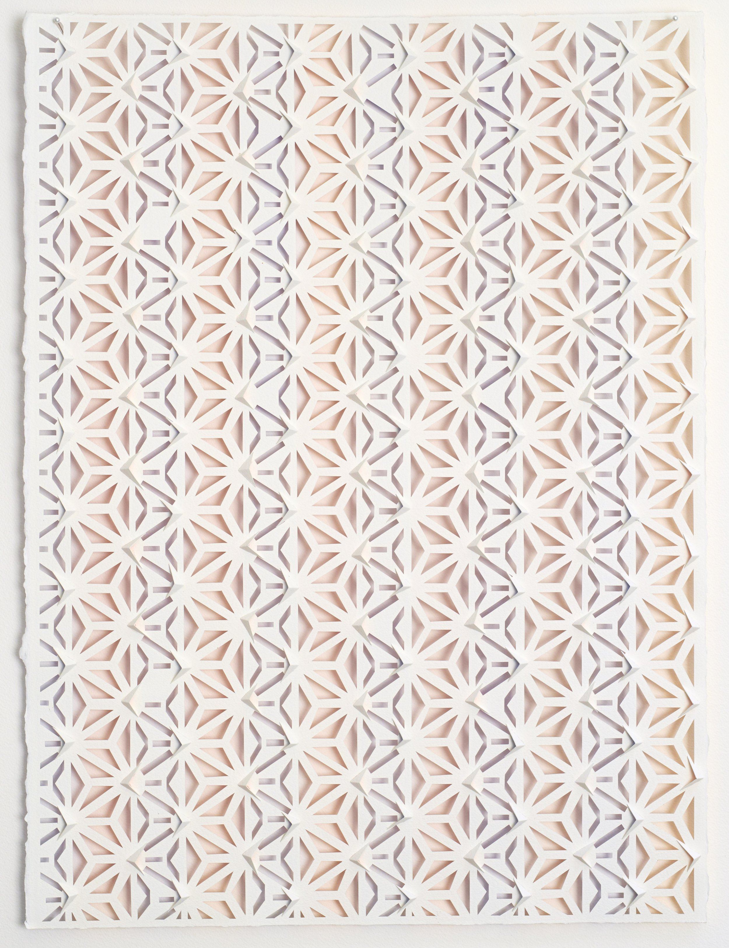 Lee Bethel, Komon 2018, watercolour on hand-cut paper, 76 x 54cm. Image courtesy the artist