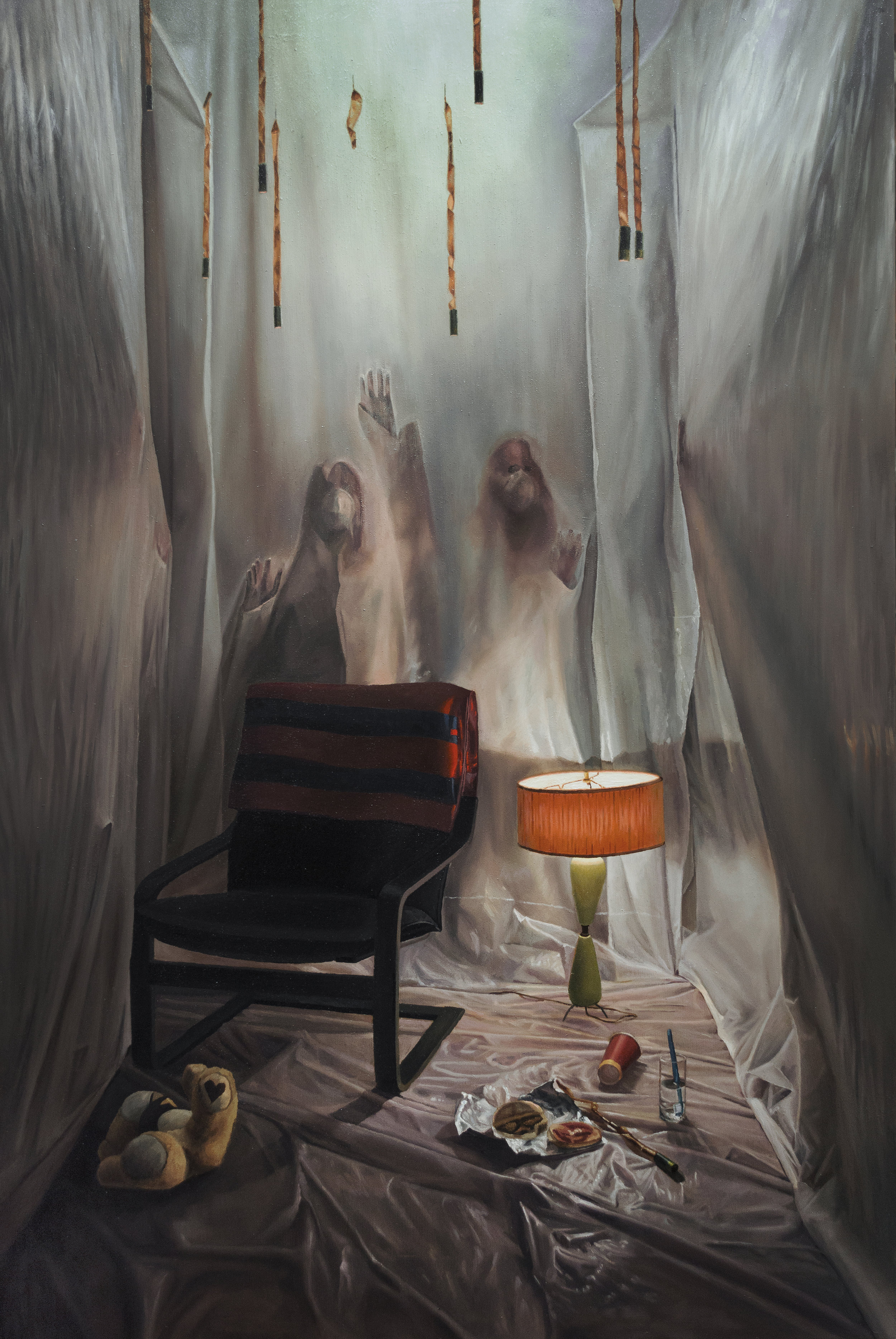 "Quarantine  , 2019, Oil on Wood, 24"" x 36"""