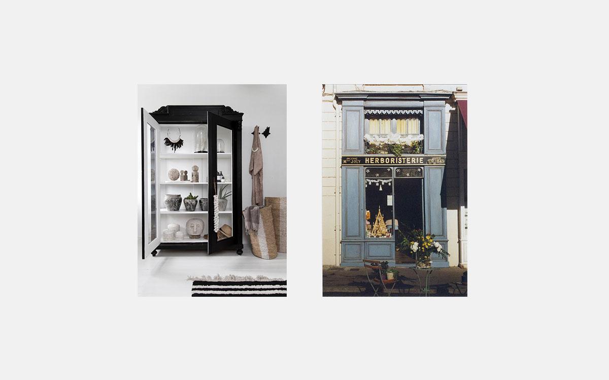 Interior elements: opened doors