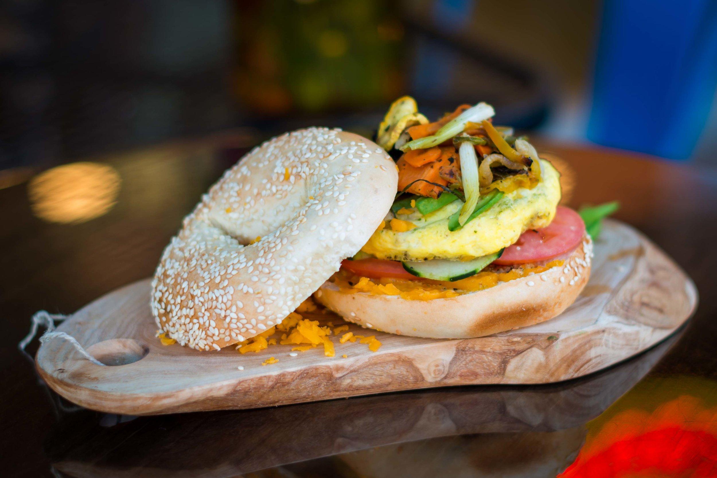 Pac-Man Bagel Sandwich