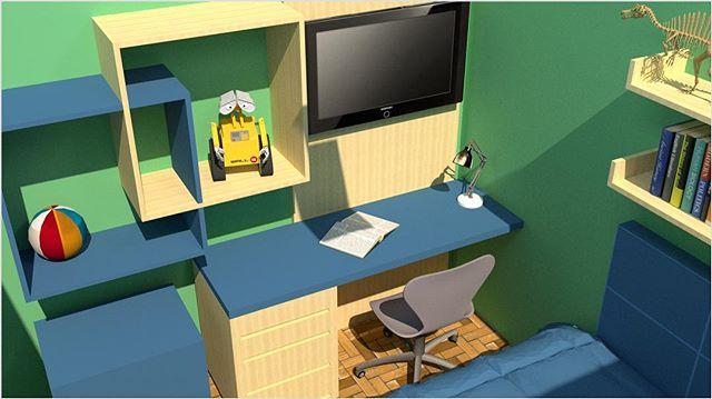 Enquanto o quarto não fica pronto, a gente curte o 3D! Madeira pinus, azul petróleo e paredes verdes... tudo para deixar o espaço exatamente como nosso pequeno/grande cliente pediu. . . #pocketdecor #pocket_decor #projetopocketdecor #quarto #quartodemenino #3D #pinus #escrivaninha #room #bedroom #boysroom #decor #decoracao #homedecor #homedesign #instadecor #designdeinteriores