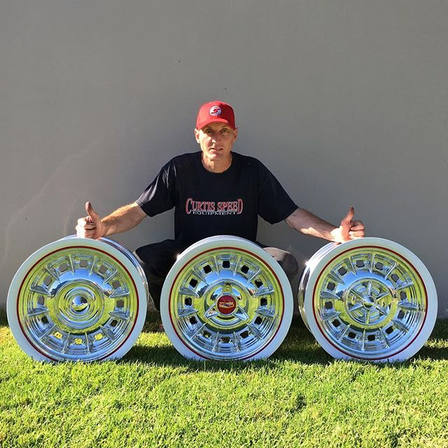 Just finished these Beauties for a sweet '57 Bel Air! Lots of cap options! #whitewalls #whitewallwheels  #billetwheels