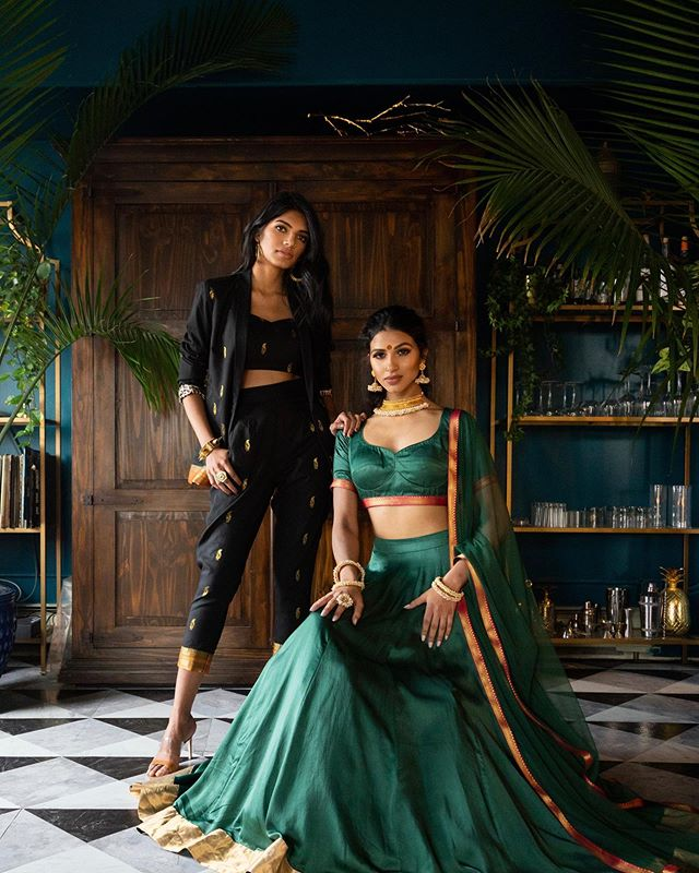 👸🏾Queen 1 and Queen 2👸🏾 or should I say Khaleesi 🐉😏 — team ✨ Model: @vitamallela @geena_singh Wearing: @holichicbyMegha MUA: @karunachani Assist: @nujent  Video: @whoisdefy Designs Team: @__megharao  @poojadesaishah  #pakistanstyle #pakistanvogue #browngirlmagic #hotasiangirls #lookbook #fashioneditorial #pursuitofportraits #browngirlfashion #indianstyle #fashionpost #fashionaddict #ootd #khaleesi