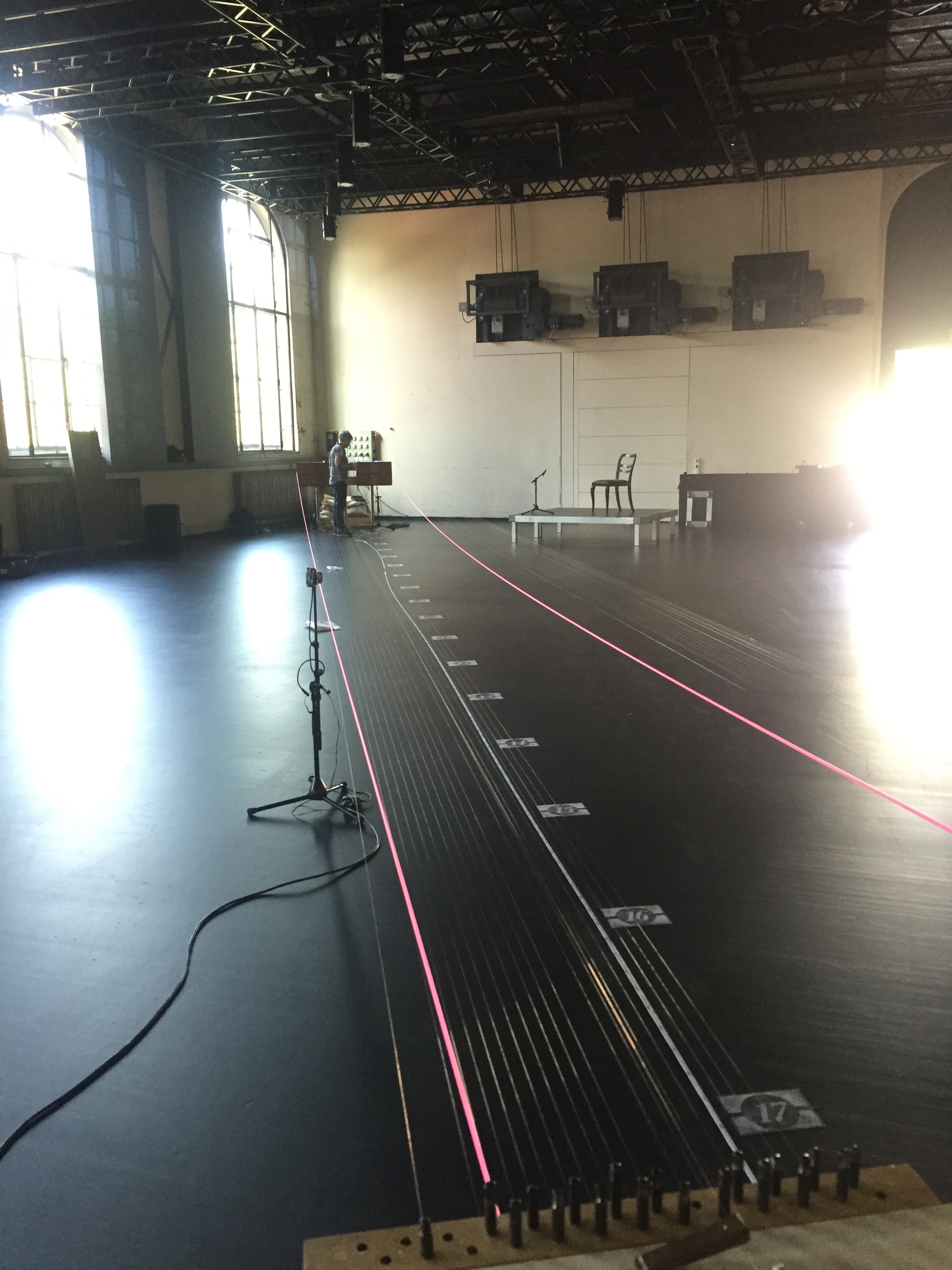 Setting up for a performance of  Harbors in Dampfzentrale, a former power station.