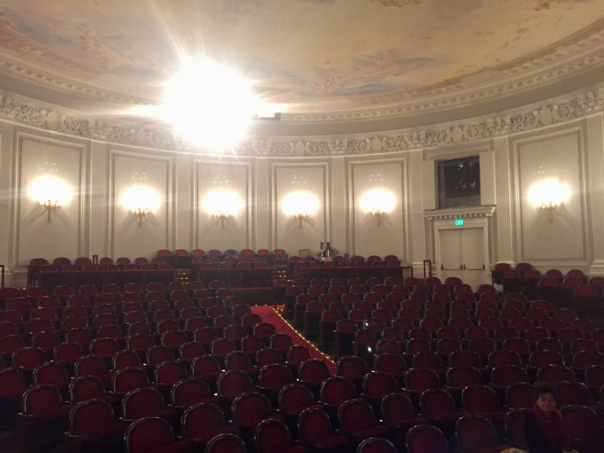 View of the Gunn Theater at the Legion of Honor Museum in SF, performing in director Carey Perloff's spectacular presentation on Greek drama and its representation in ancient art. Sharing the stage with actors Anthony Fusco, Safiya Fredericks and Dan Clegg.