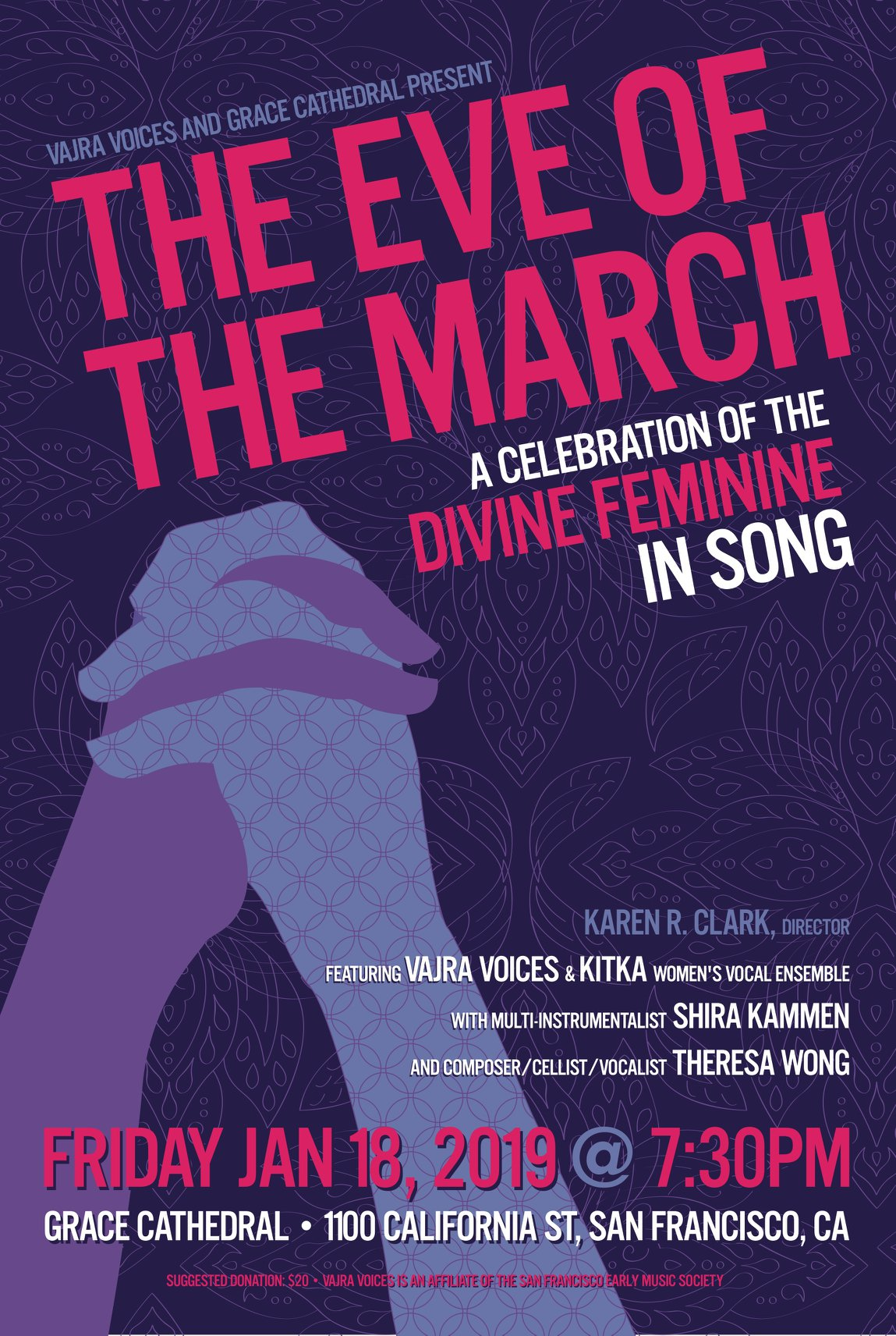 In honor and awe of the Women's March 2019, Vajra Voices & Kitka present The Eve of the March - a concert in the sacred space of Grace Cathedral where we will celebrate womens' voices and the power of community. This is going to be quite a night! Join Vajra Voice, Kitka, multi-instrumentalist Shira Kammen and yours truly - I'll be premiering  To Burst To Bloom  - 6 songs setting the texts of the 12th Century Chinese female Toaist, Sun Bu'er.  Tickets available here.