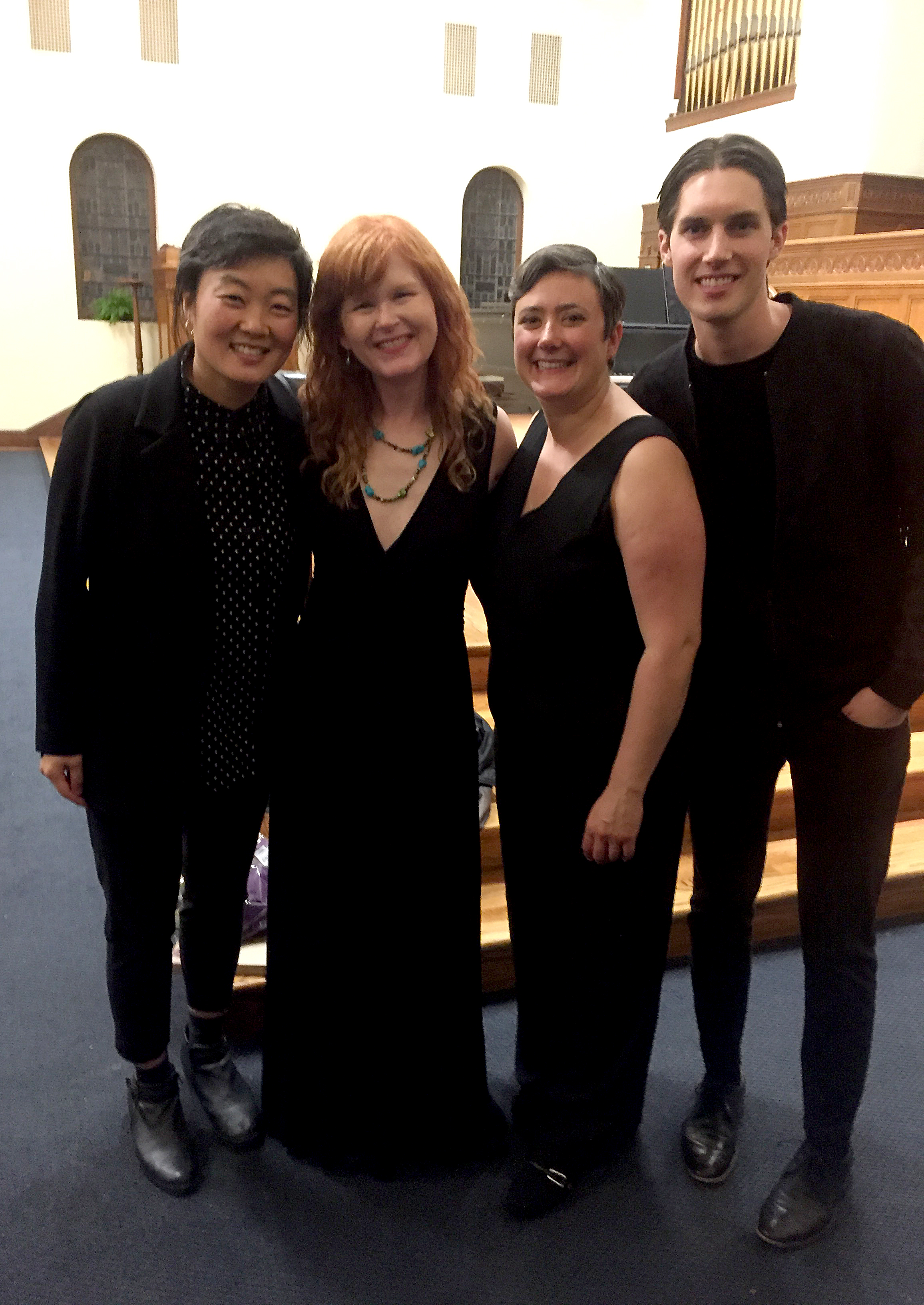 Post concert photo op after a beautifully rich program performed by Sarah Cahill, Regina Myers, Riley Nicolson and Monica Chew. Thanks to Old First Church Concerts and especially to Sarah for a bringing this piece to life! Here's a review of the concert at  San Francisco Classical Voice .