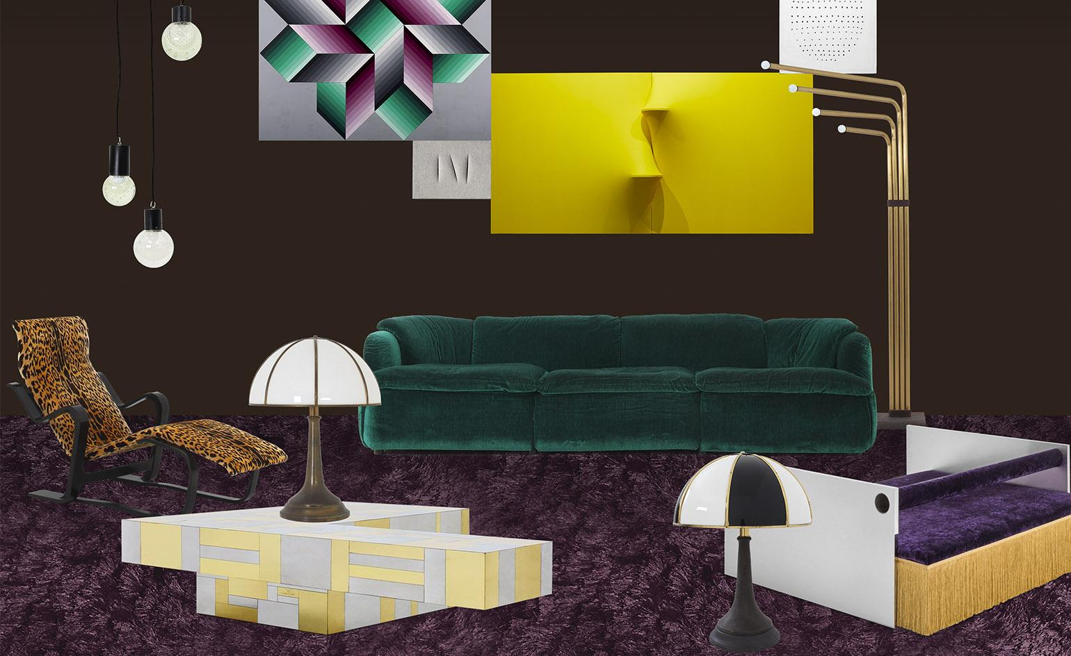 DImore Studio scenic mock up for a living room. Height is added to the arrangement with the brass lamp on the right of the sofa, which ties in with brass highlights on the coffee table, lower left. Curved brass floor lamps can be used to 'frame' the furniture arrangement, reflecting other shapes or contrasting with them and defining edges. Image courtesy alterazioniviniliche.blogspot.com