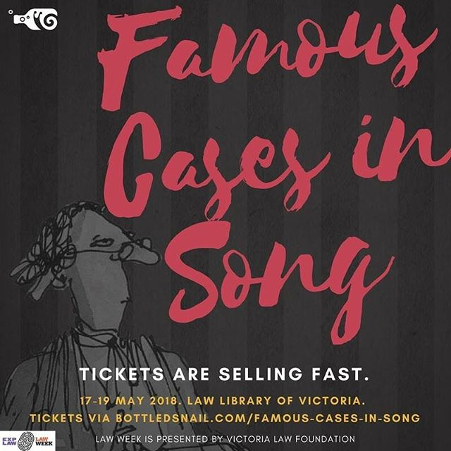 """Silence in Court!"". Join us for Famous Cases in Song, a humorous retelling of two well know Cases in song. 17-19 May. Tickets are selling fast! Don't miss out!"