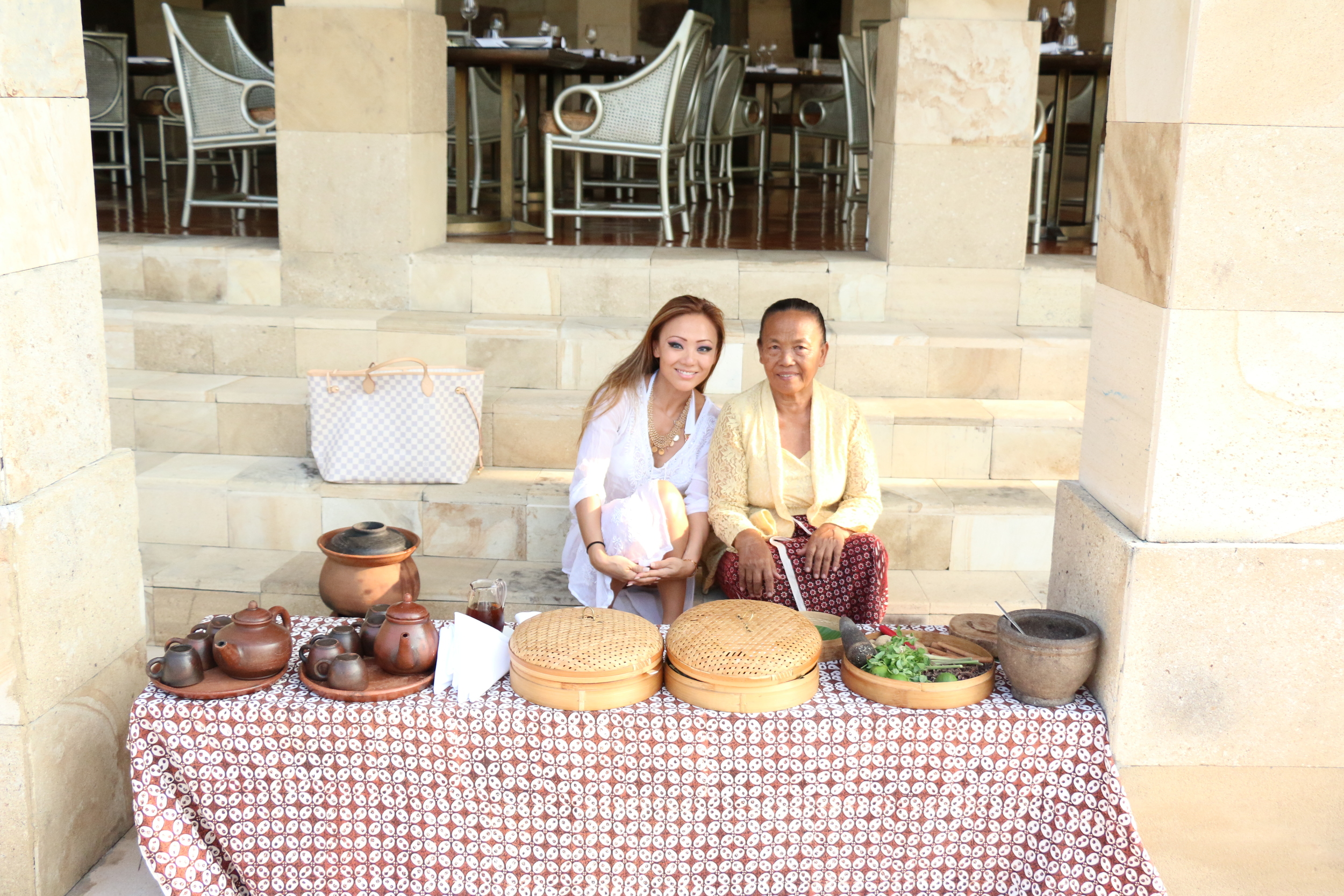 With our lovely host who made our fresh afternoon teas at Amanjiwo