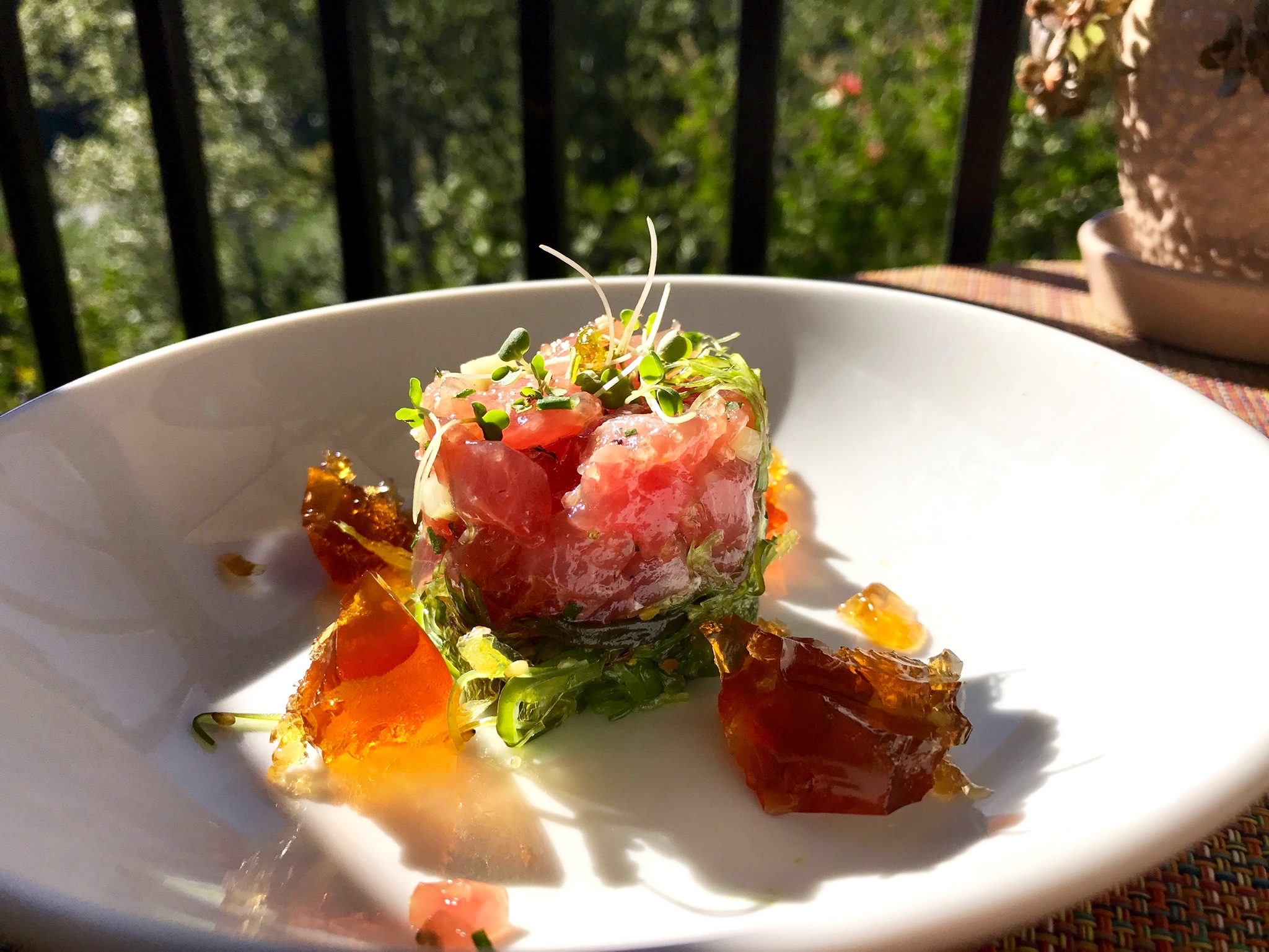 The delicious tuna tartare I had for lunch which paired beautiful with a chilled glass of white wine:)