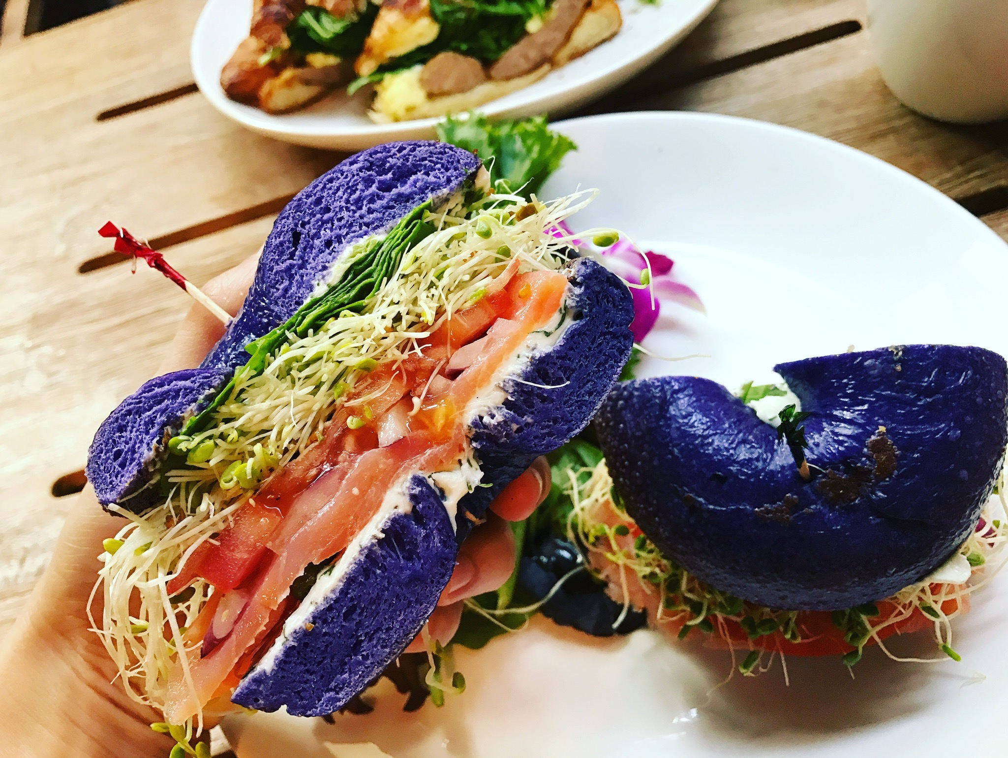 The Stunning Taro Bagel full of fresh goodies: This is breakfast heaven :)
