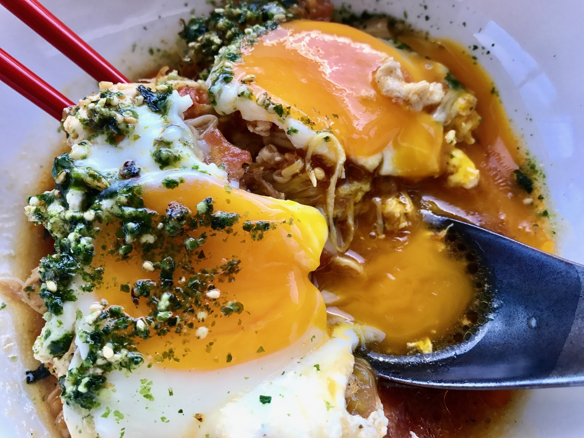 Beautiful yolks running into that delicious broth